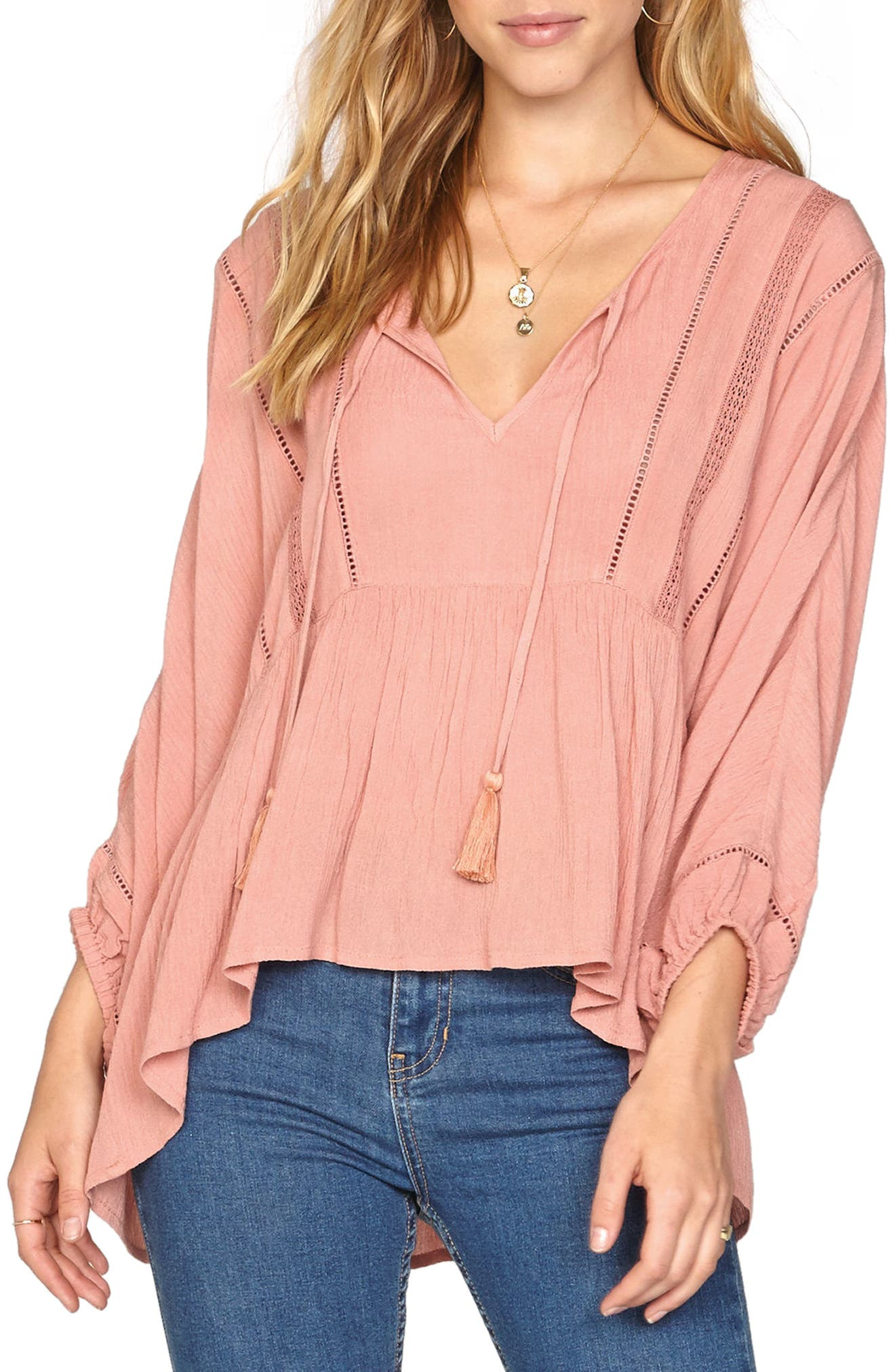 Cool Breeze Woven Top,                         Main,                         color, Rose Dawn