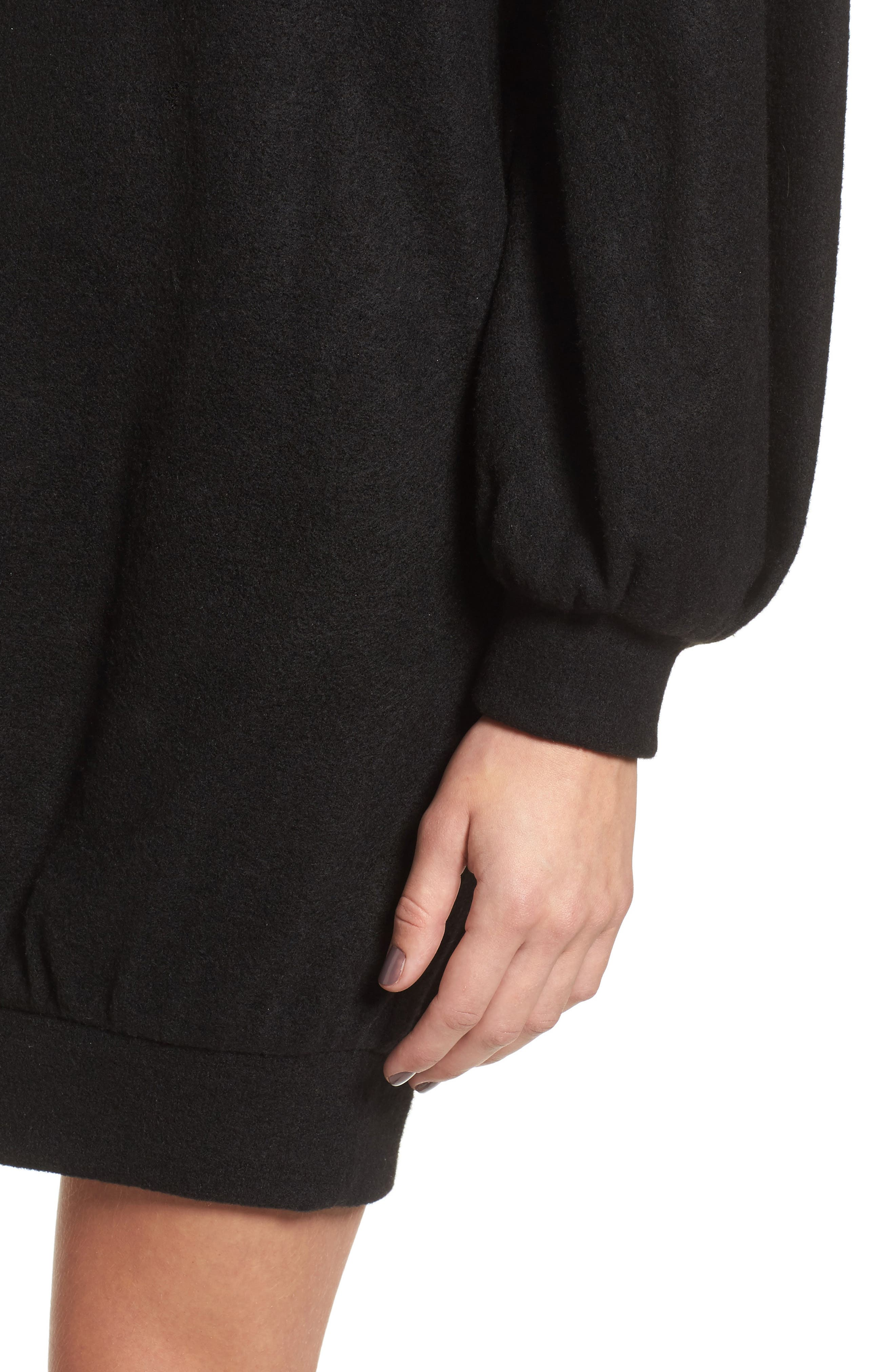 Balloon Sleeve Sweater Dress,                             Alternate thumbnail 4, color,                             Black