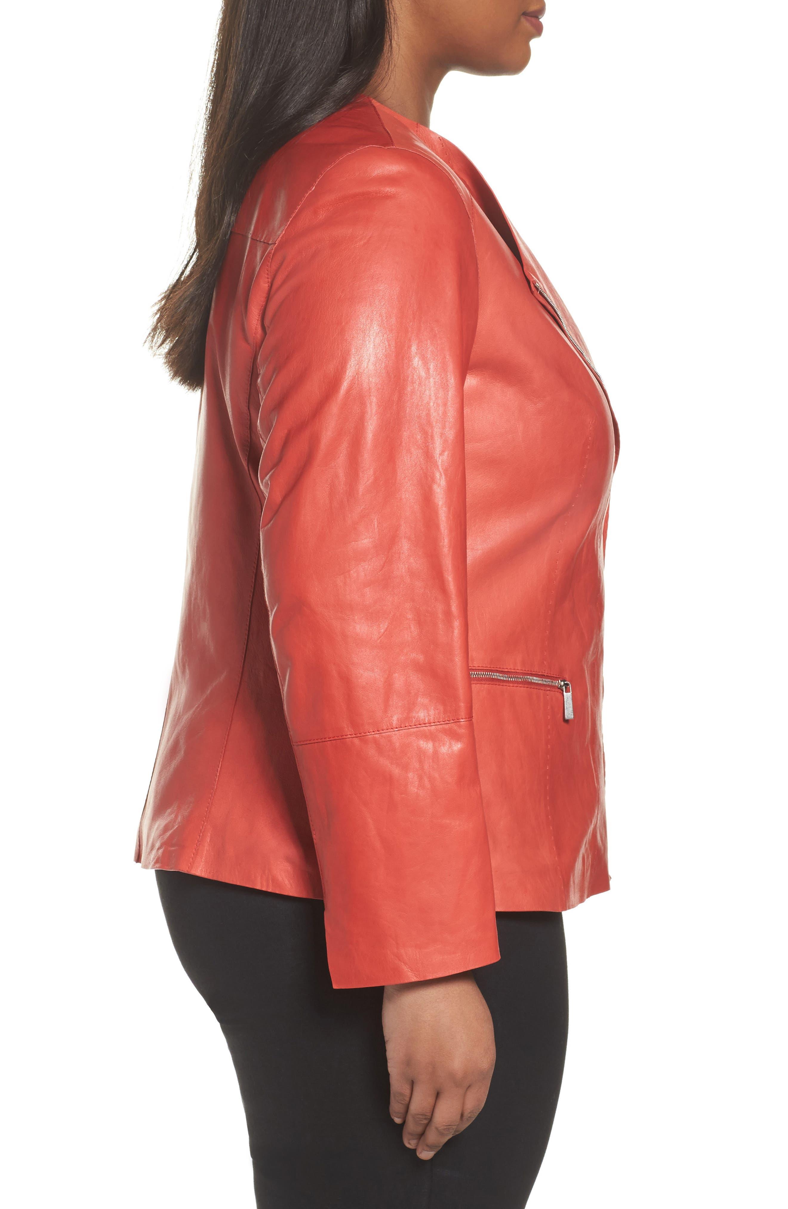 Alternate Image 3  - Lafayette 148 New York Caridee Glazed Lambskin Leather Jacket (Plus Size)