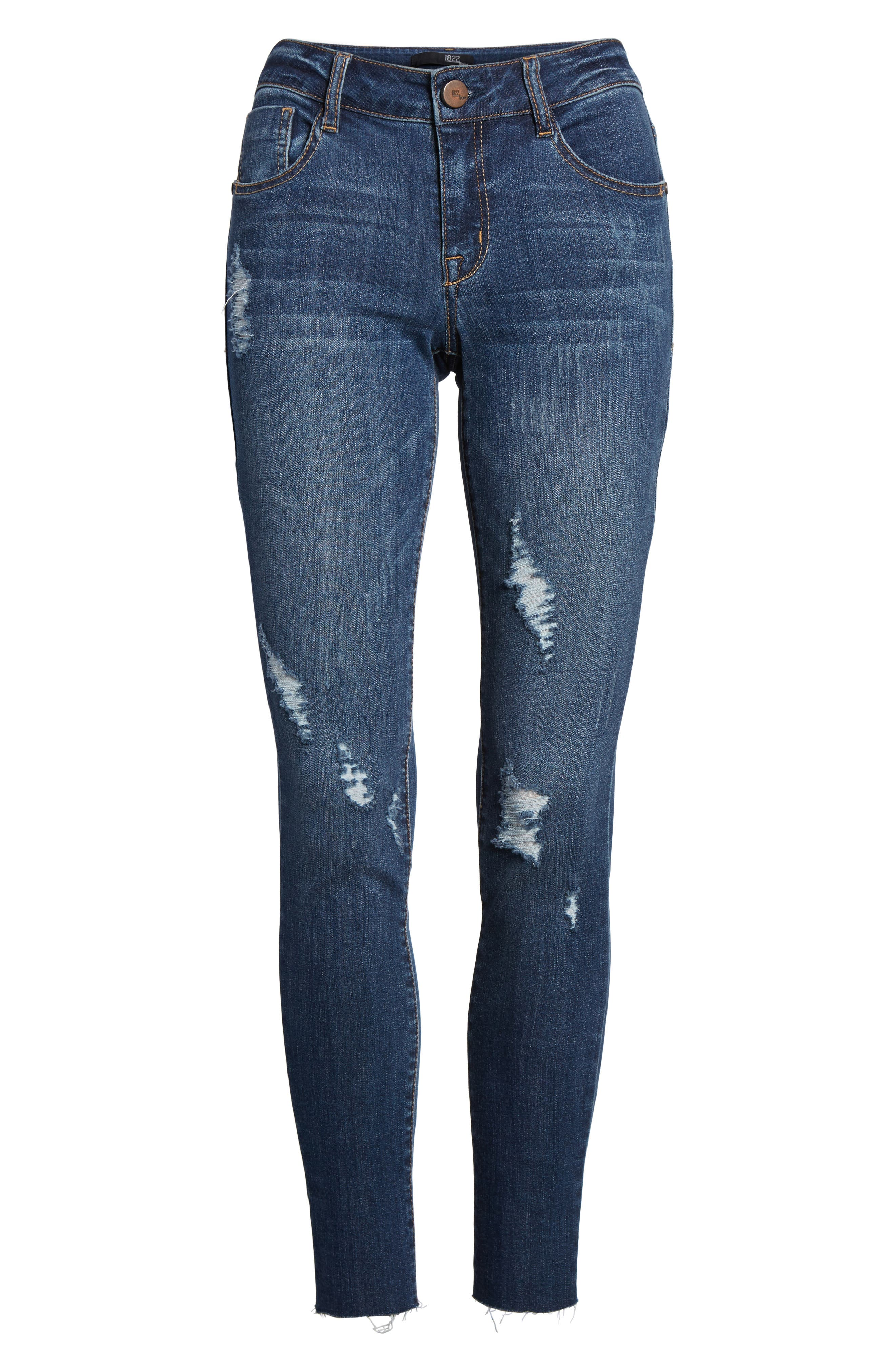 Decon Distressed Skinny Jeans,                             Alternate thumbnail 7, color,                             Wall Flowers Med Wash