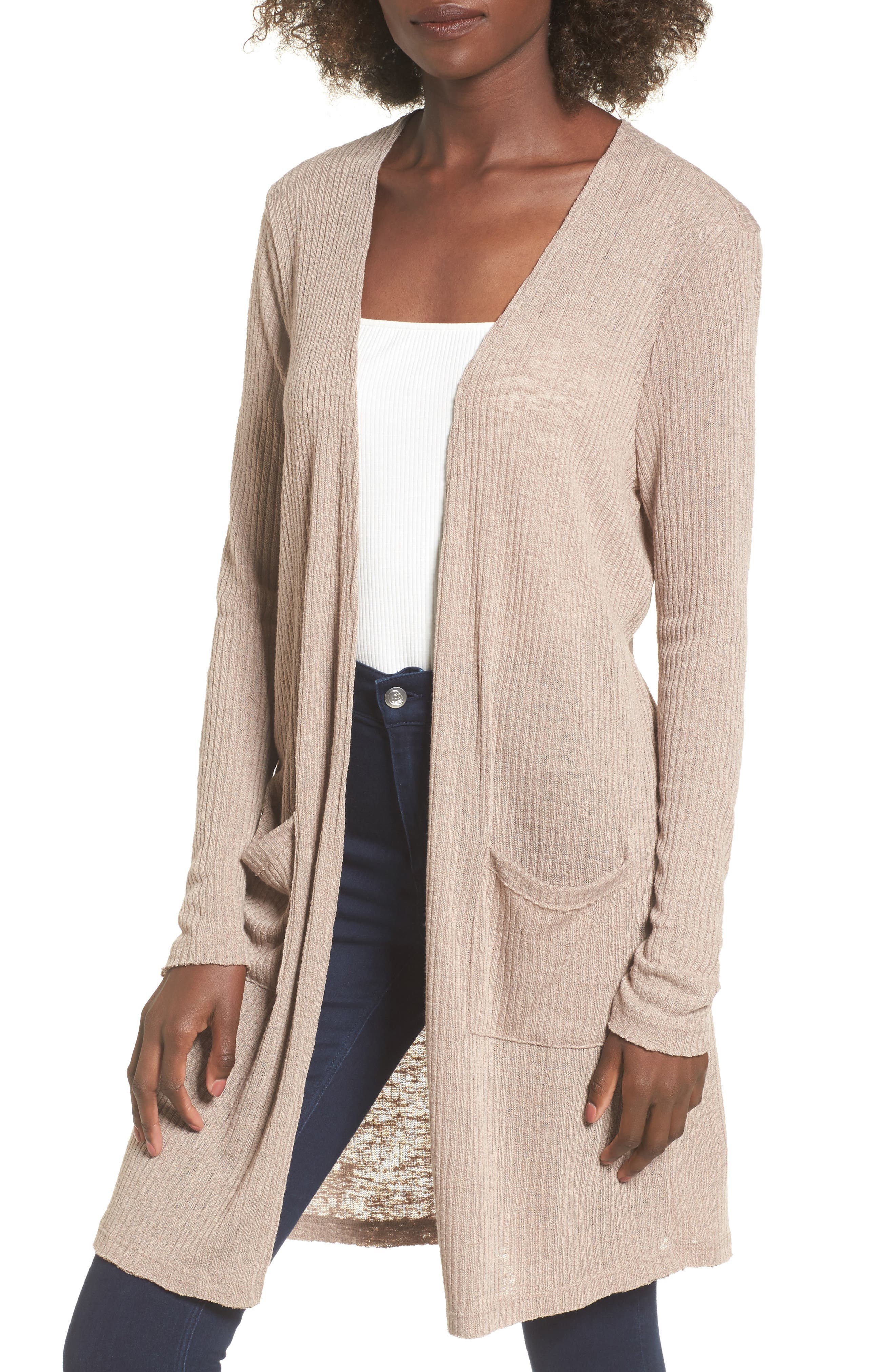 Ribbed Knit Cardigan,                         Main,                         color, Beige Morn