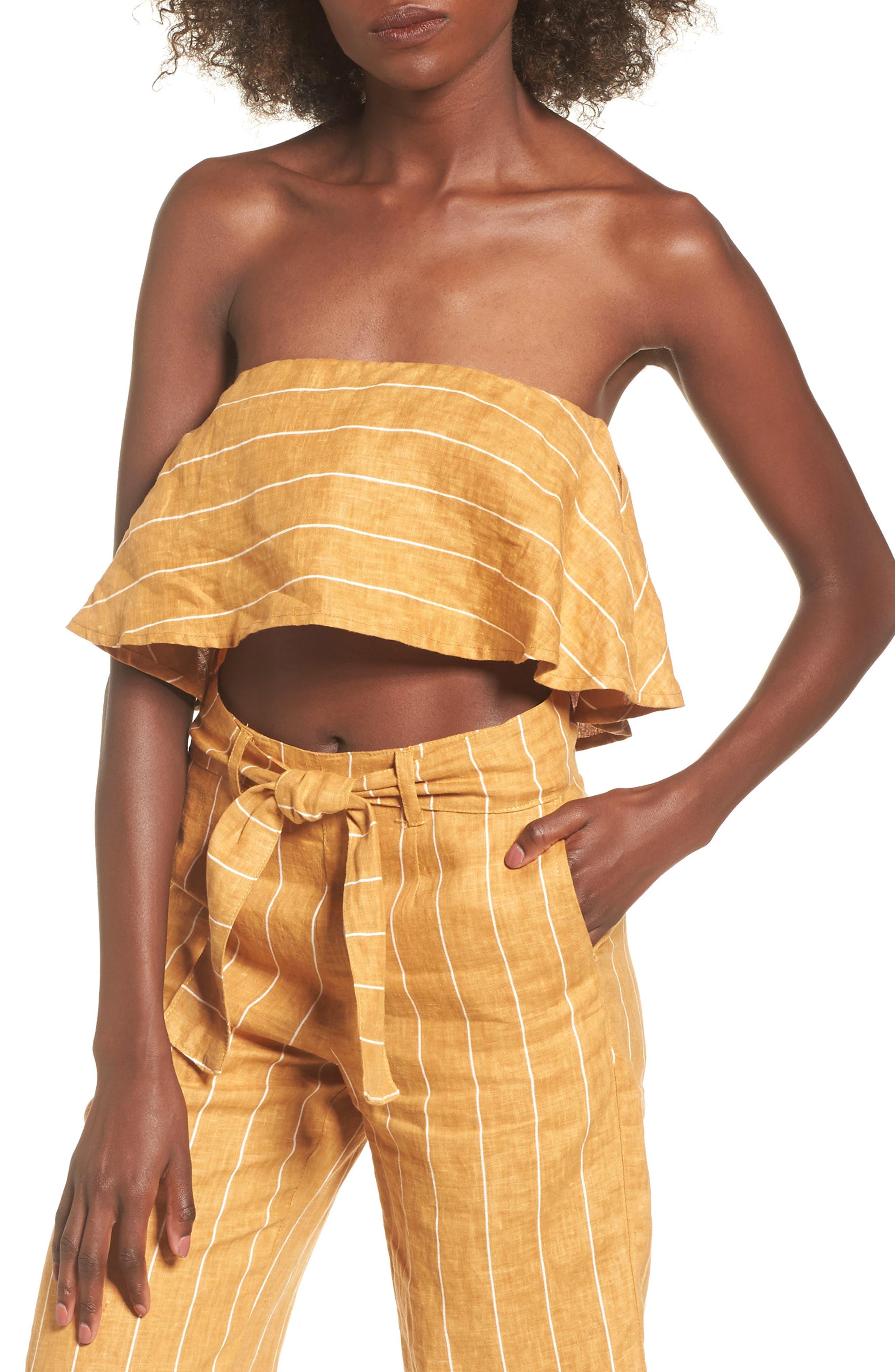Solana Stripe Strapless Linen Crop Top,                         Main,                         color, Copenhagen Stripe