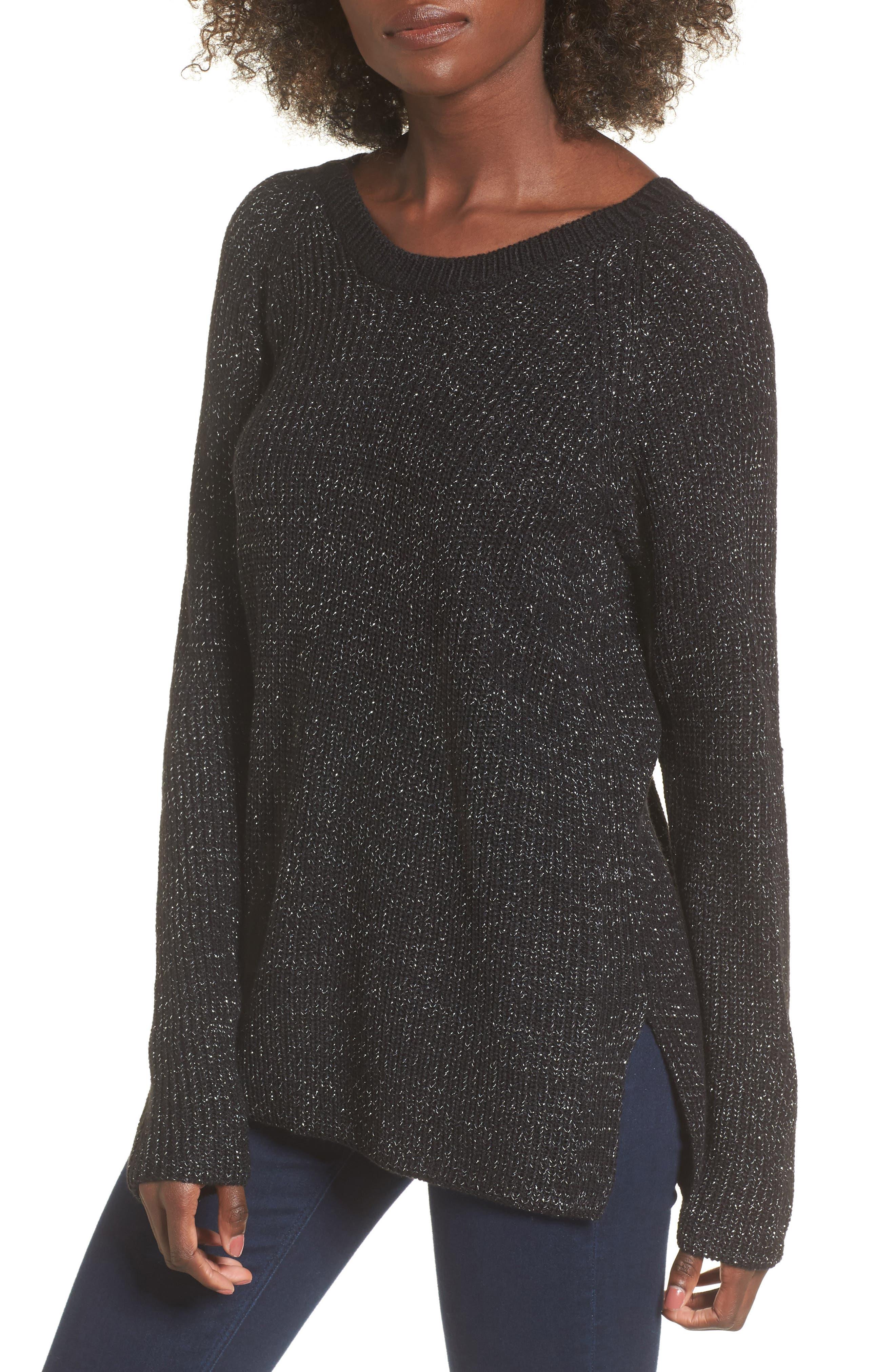 Sparkle Knit Sweater,                         Main,                         color, Black