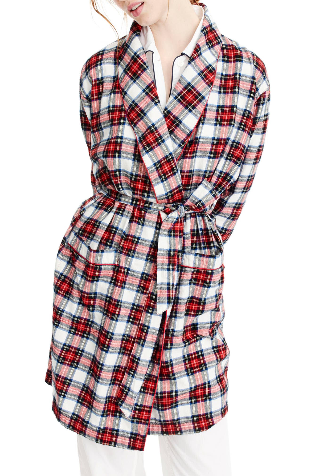 J.Crew Whiteout Plaid Flannel Short Robe,                             Main thumbnail 1, color,                             Red Navy