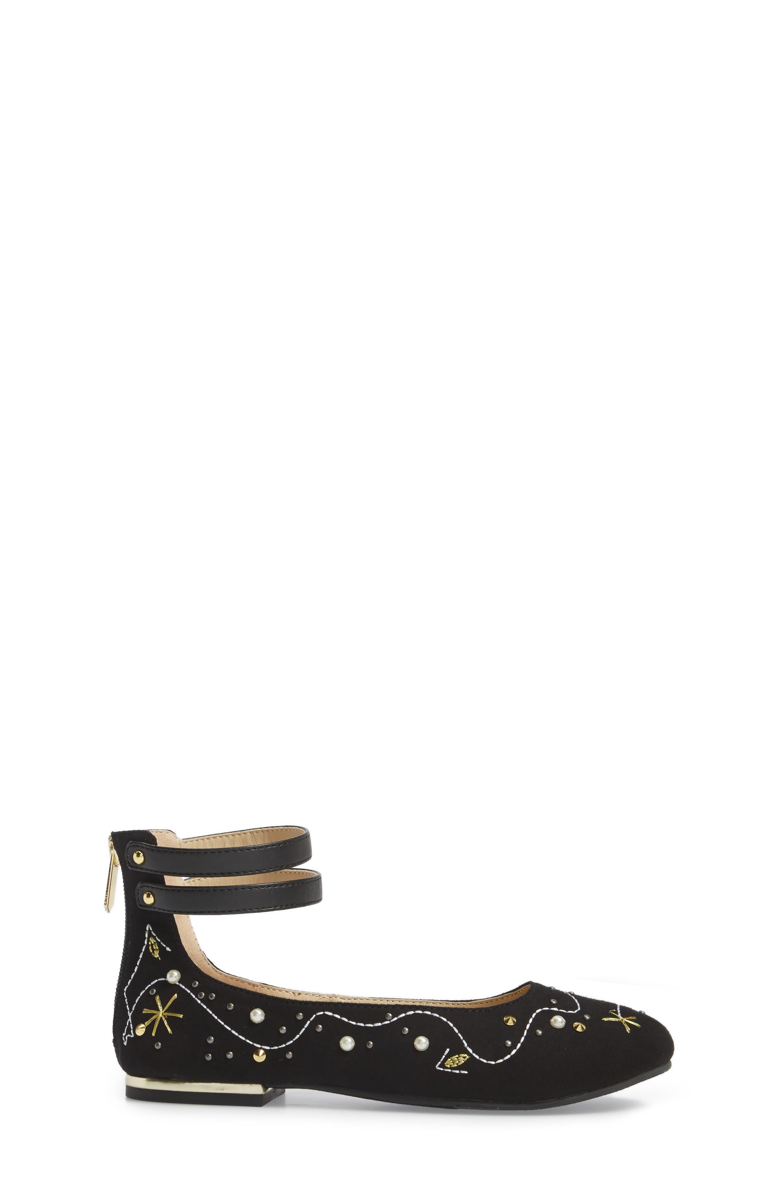 Felicia Jax Embellished Flat,                             Alternate thumbnail 3, color,                             Black