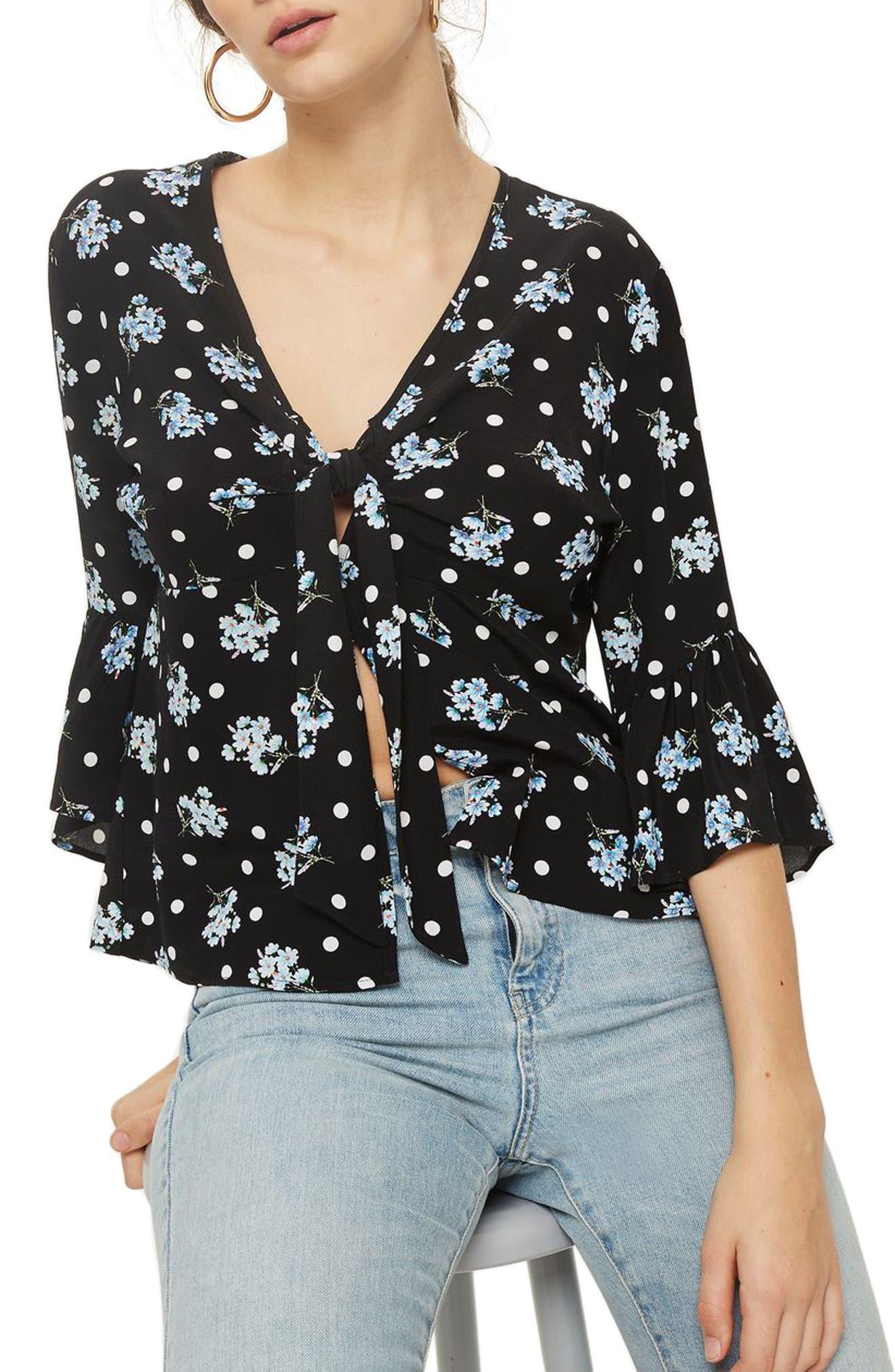Felicity Spot Floral Tie Front Blouse,                         Main,                         color, Black Multi