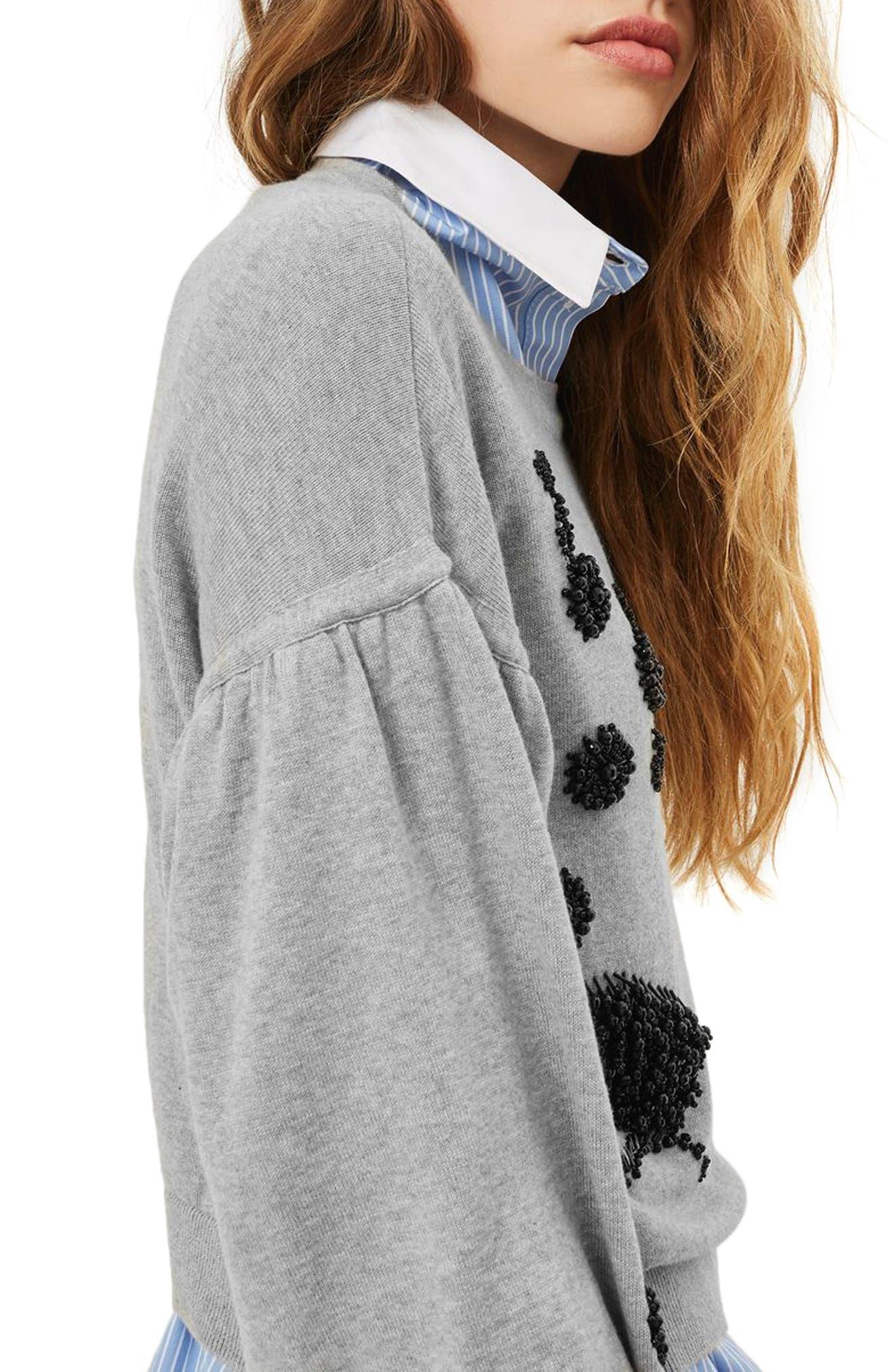 Beaded Balloon Sleeve Sweater,                             Alternate thumbnail 4, color,                             Grey Marl Multi
