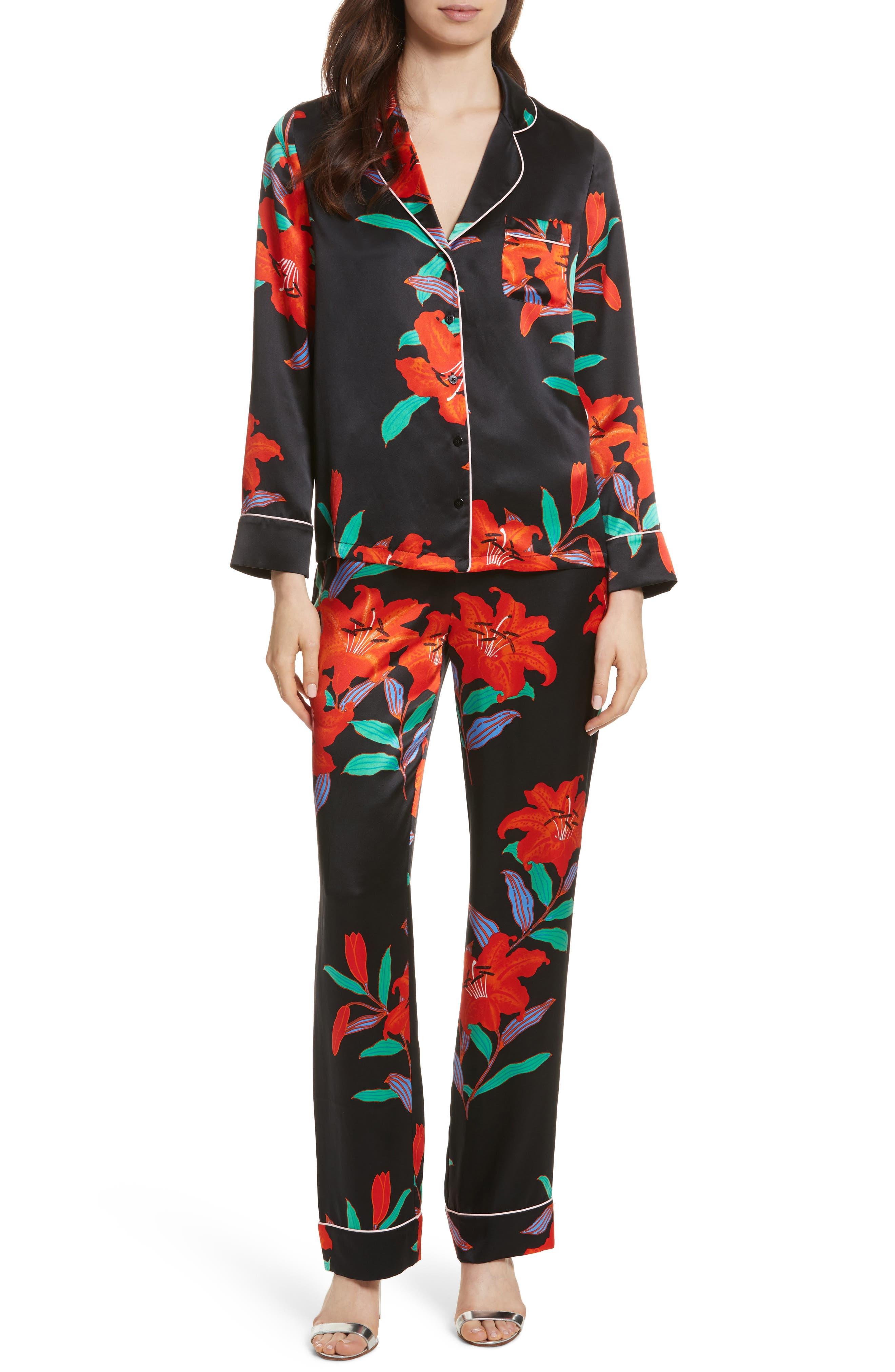Pajama Silk Shirt,                             Alternate thumbnail 7, color,                             Argos Black/ Powder Pink