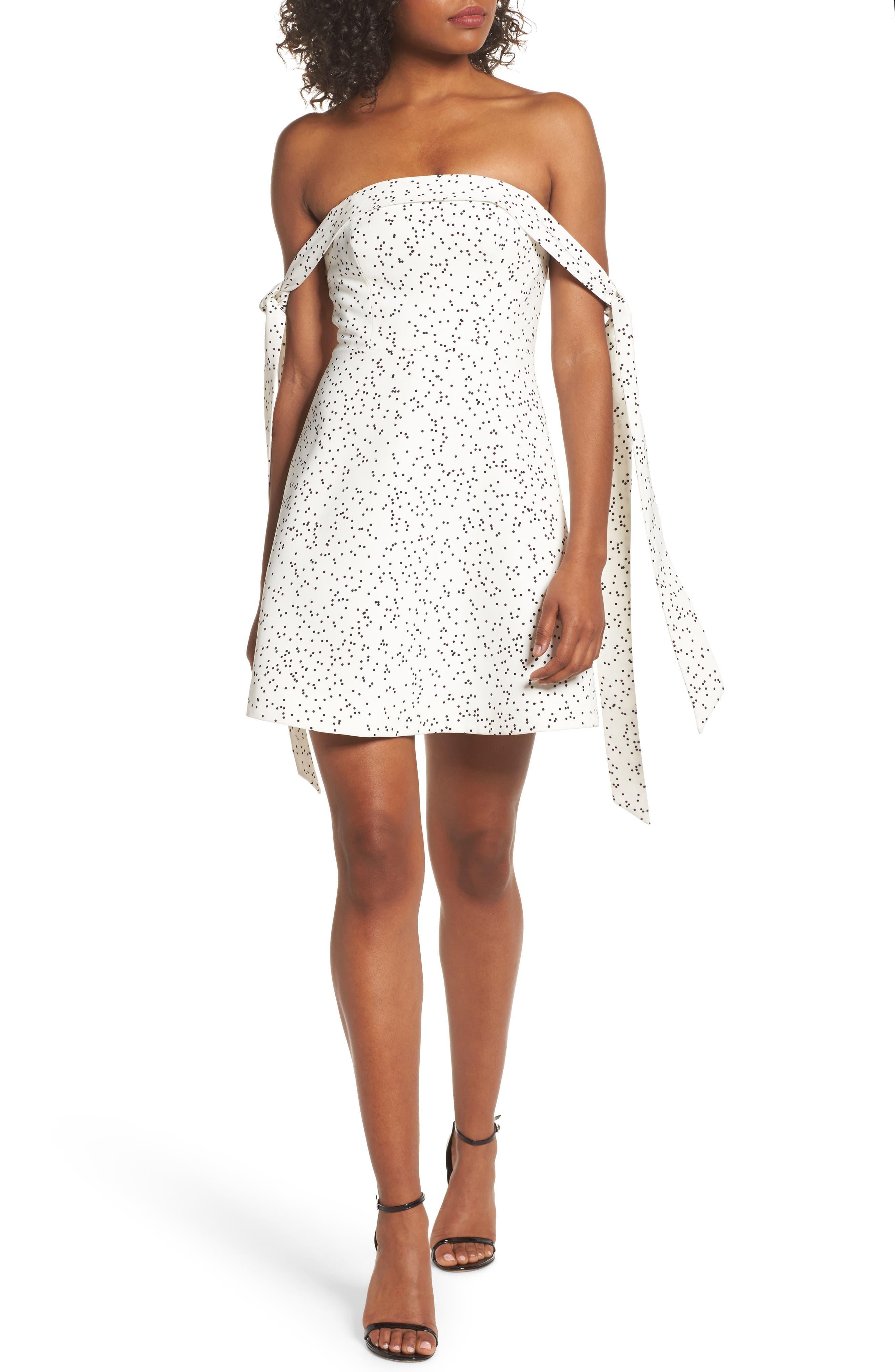 Embrace Me Off the Shoulder Dress,                         Main,                         color, White W Black Spot