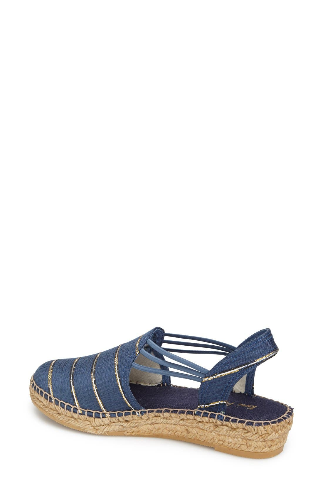 'Nantes' Silk Stripe Sandal,                             Alternate thumbnail 2, color,                             Stripe Navy