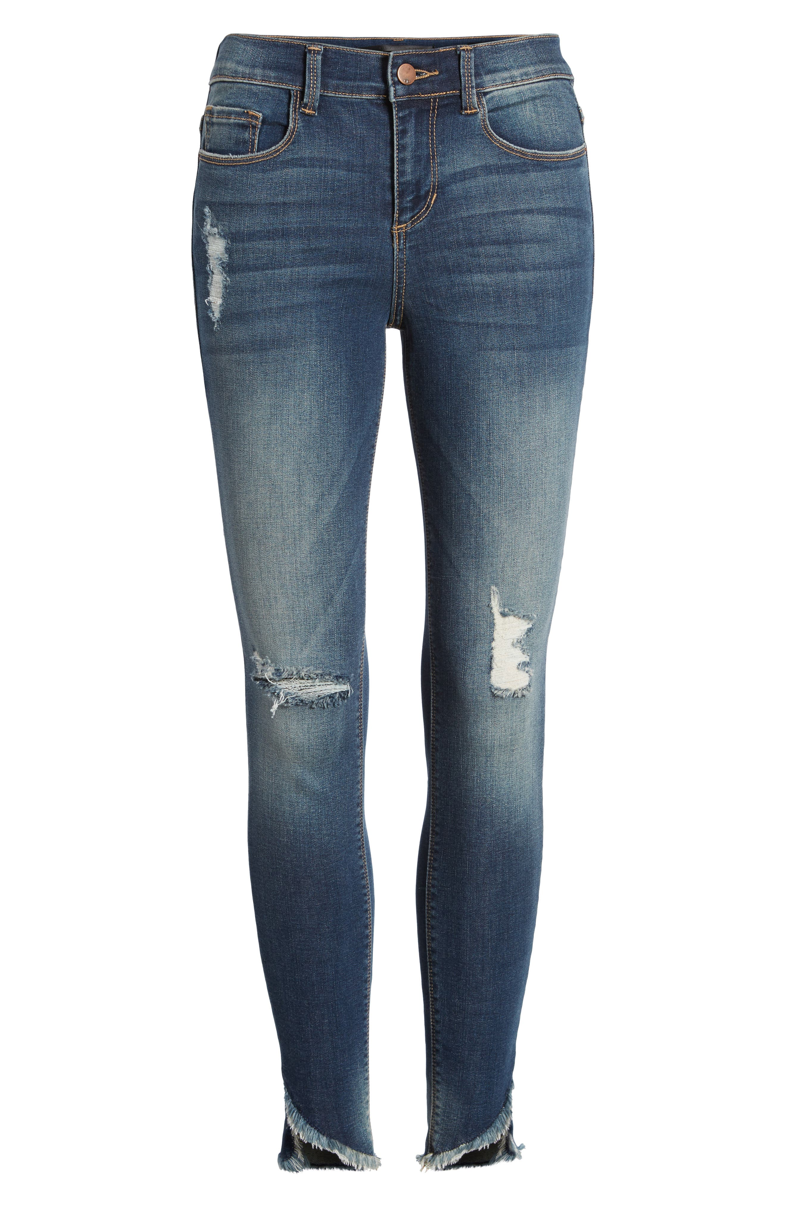Ripped Raw Hem Skinny Jeans,                             Alternate thumbnail 7, color,                             Medium Dark