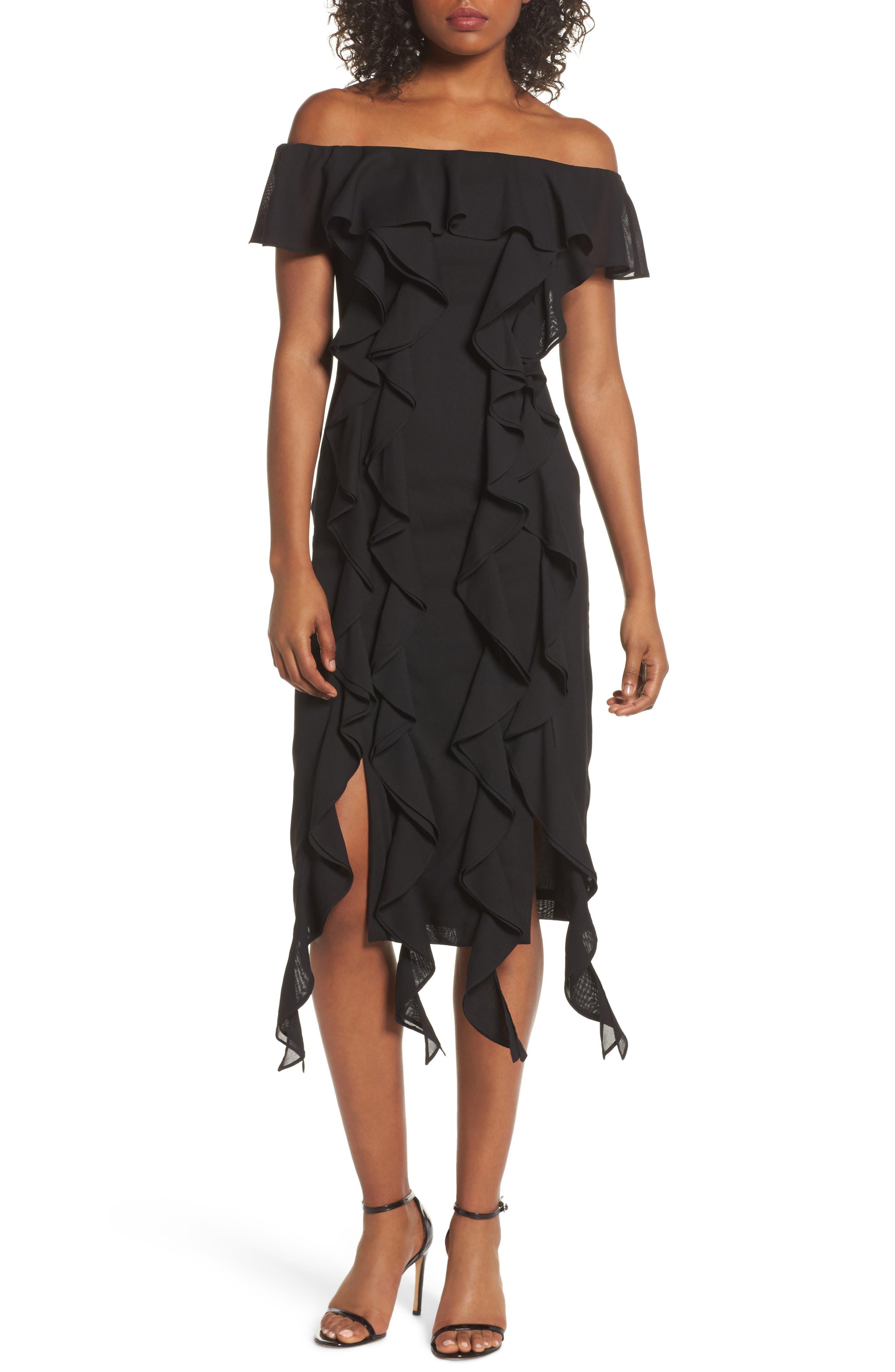 Dream State Off the Shoulder Sheath Dress,                         Main,                         color, Black