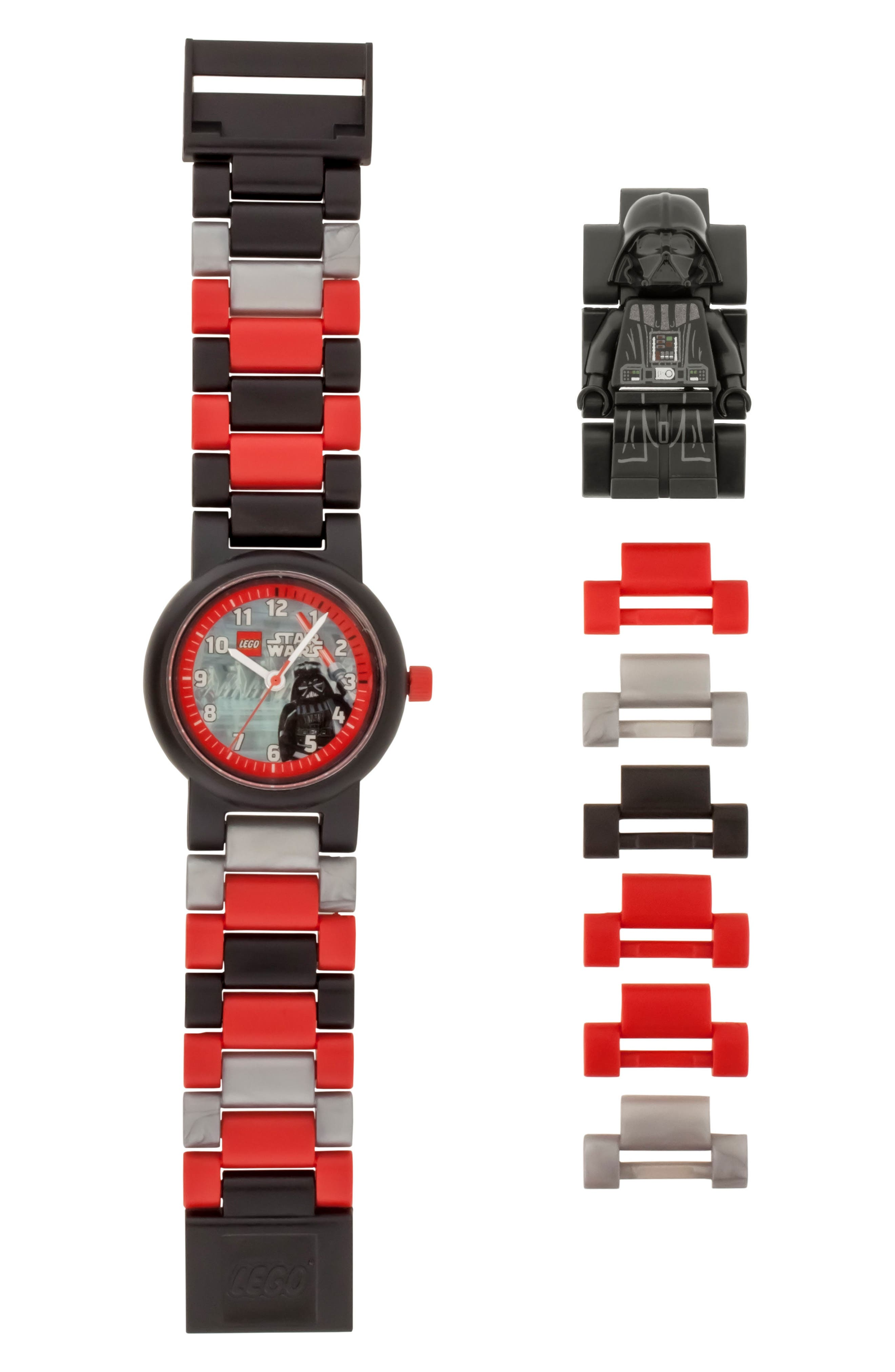 24-Piece Star Wars<sup>™</sup> Darth Vader Buildable Water-Resistant Watch,                         Main,                         color, Black