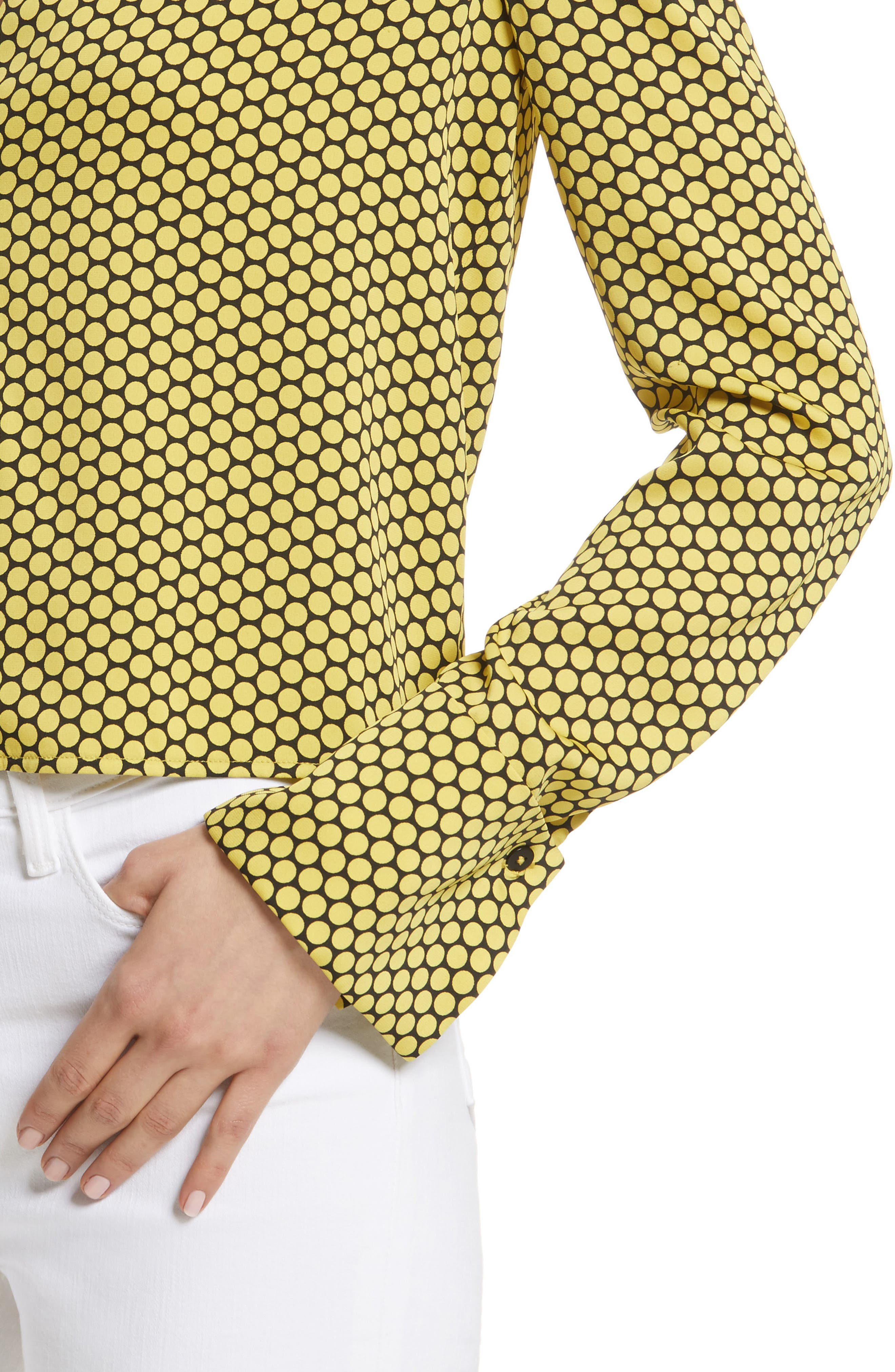 Double Cuff Stretch Silk Blouse,                             Alternate thumbnail 4, color,                             Rowe Dot Citron