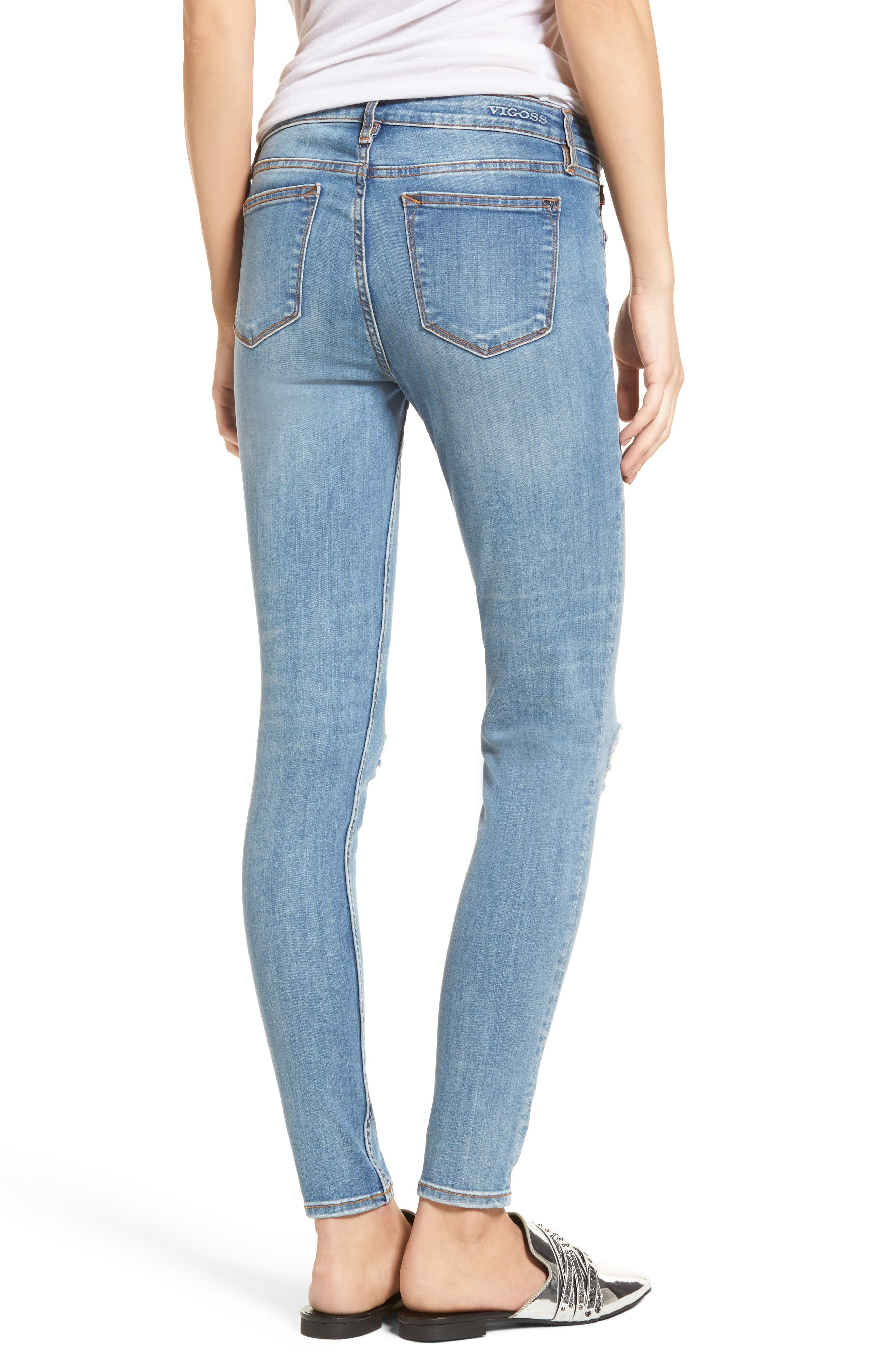 Edie Distressed Skinny Jeans,                             Alternate thumbnail 2, color,                             Light Wash