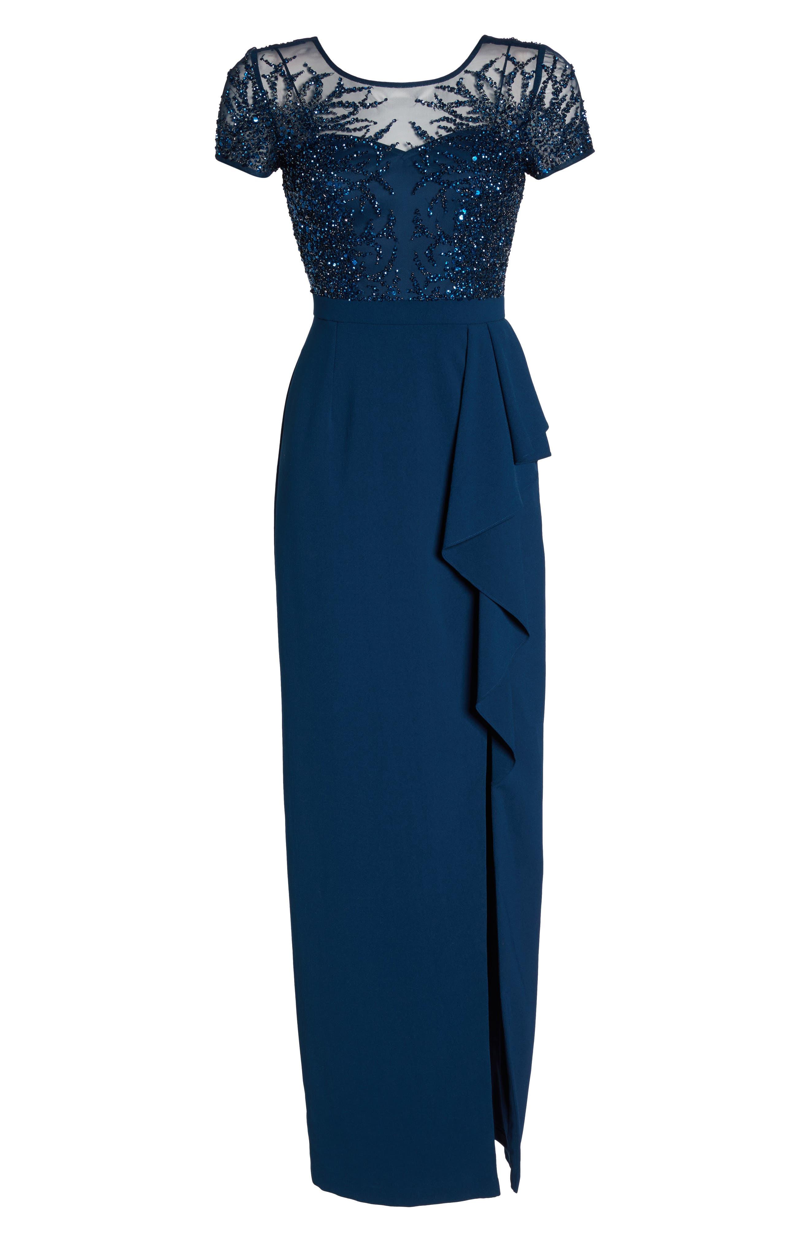 Beaded Bodice Ruffle Gown,                             Alternate thumbnail 6, color,                             Deep Blue