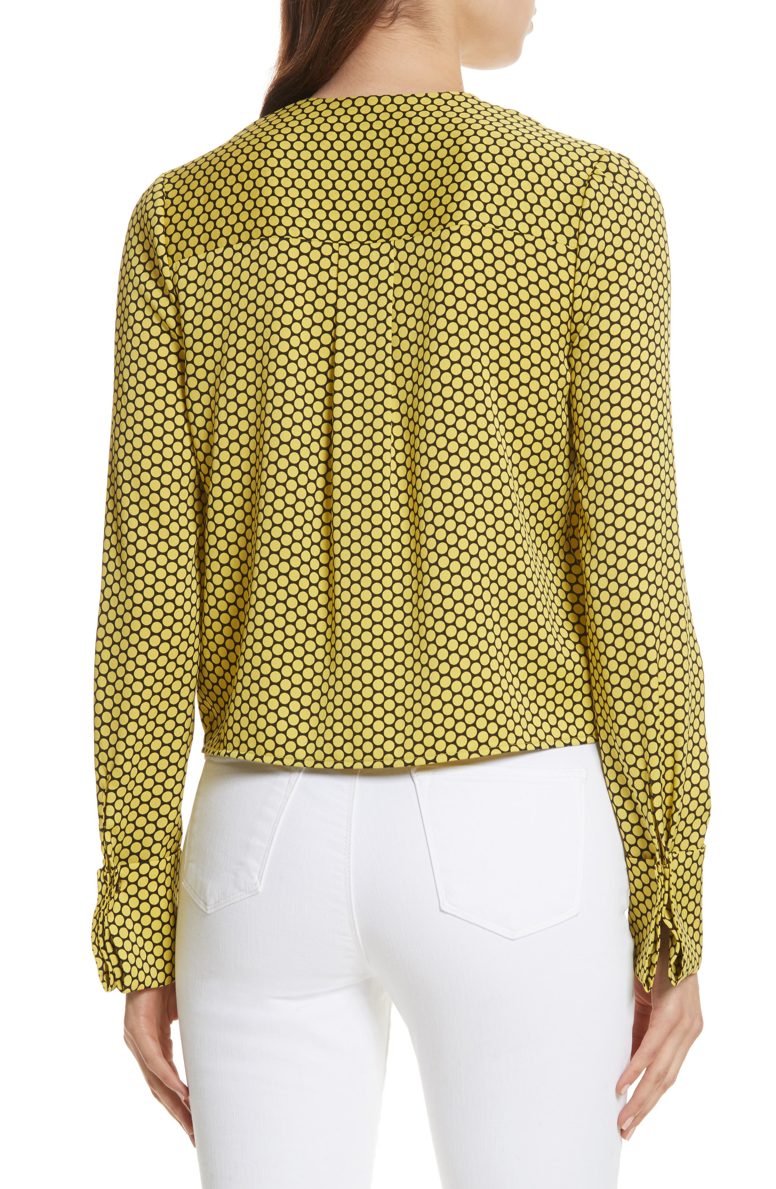 Double Cuff Stretch Silk Blouse,                             Alternate thumbnail 2, color,                             Rowe Dot Citron