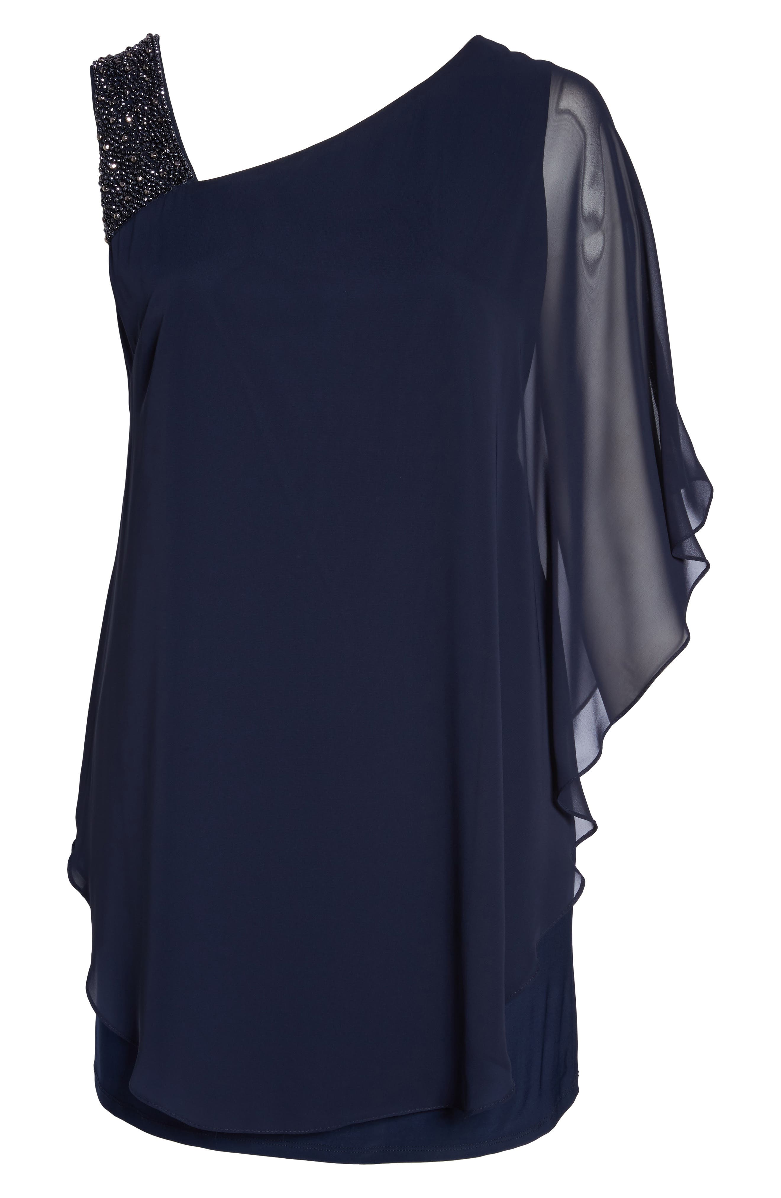 Alternate Image 6  - Xscape Embellished One-Shoulder Overlay Cocktail Dress (Plus Size)