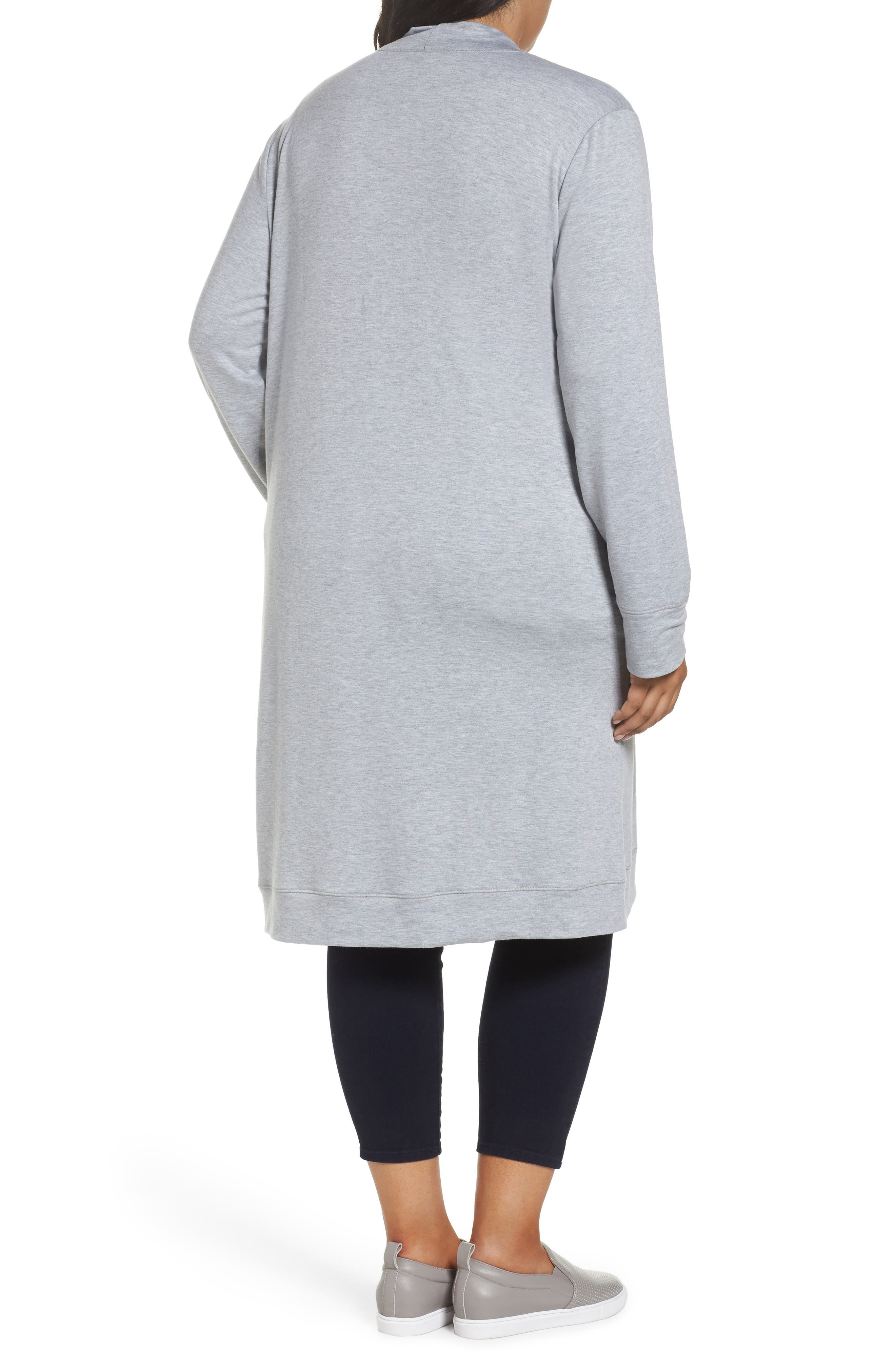 Alternate Image 2  - Caslon® Long French Terry Cardigan (Plus Size)