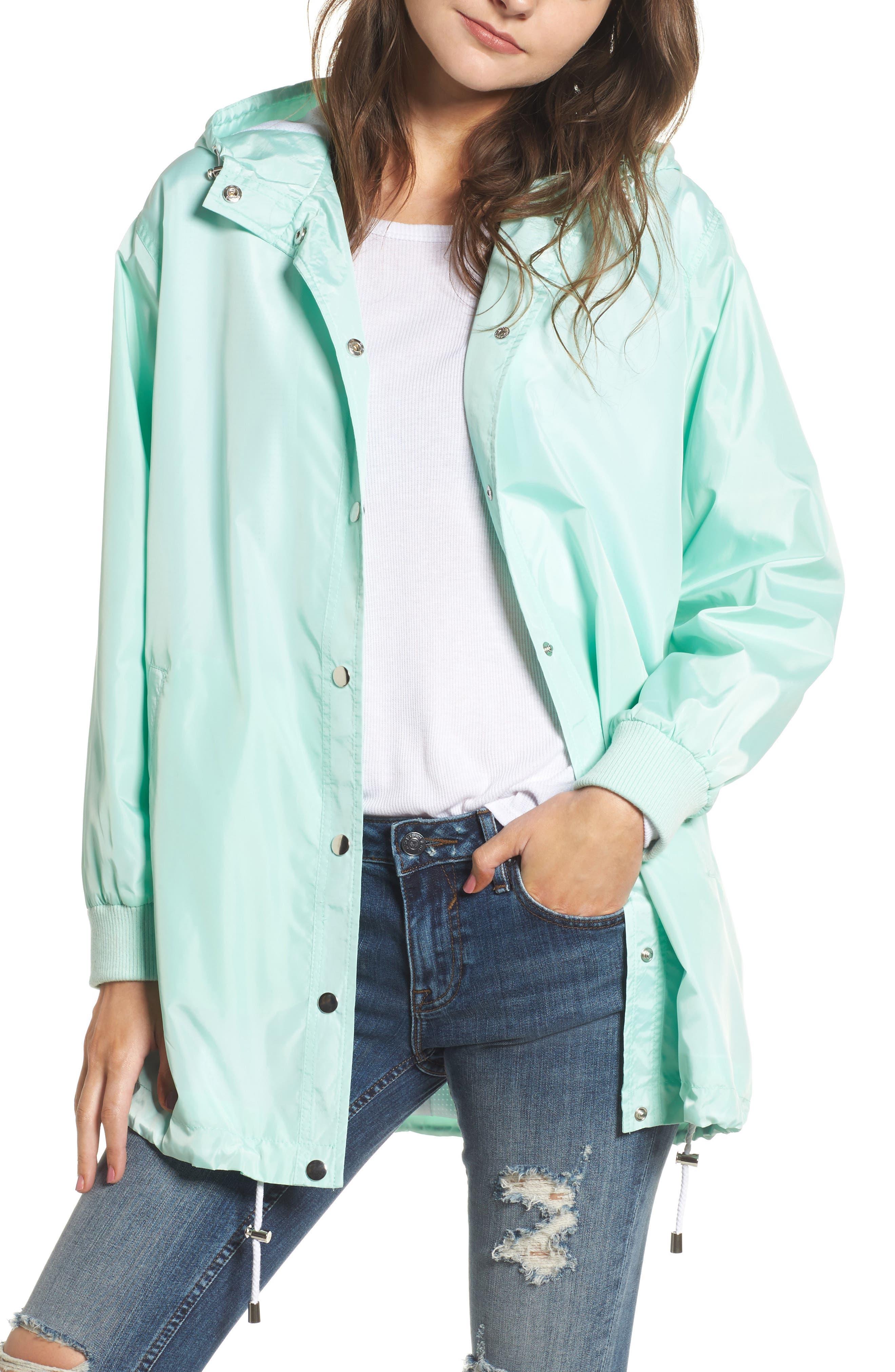Longline Hooded Windbreaker,                         Main,                         color, Green Lily