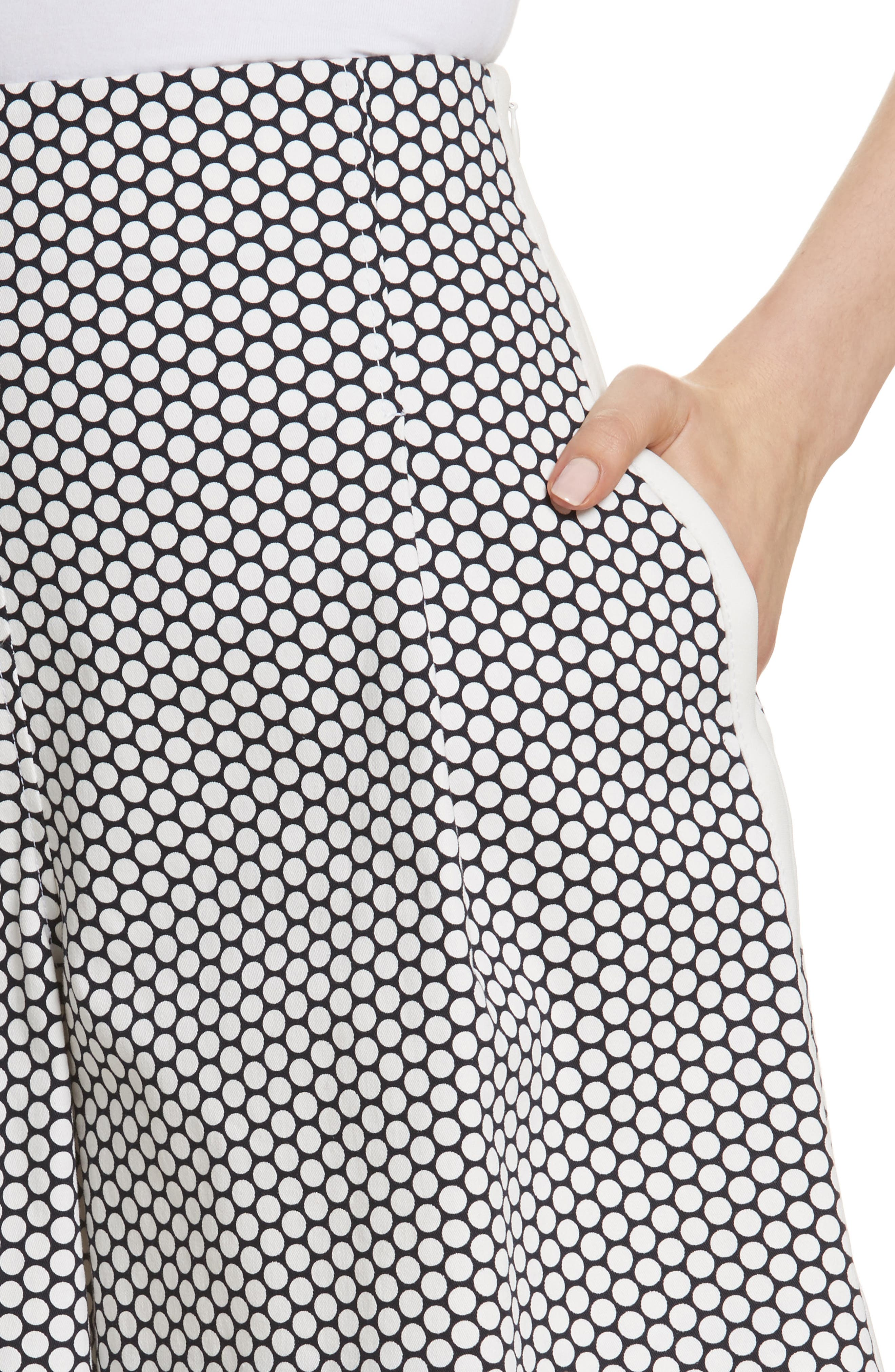 Diane von Furstenberg Dot High Waist Stretch Cotton Shorts,                             Alternate thumbnail 4, color,                             Rowe Dot Ivory