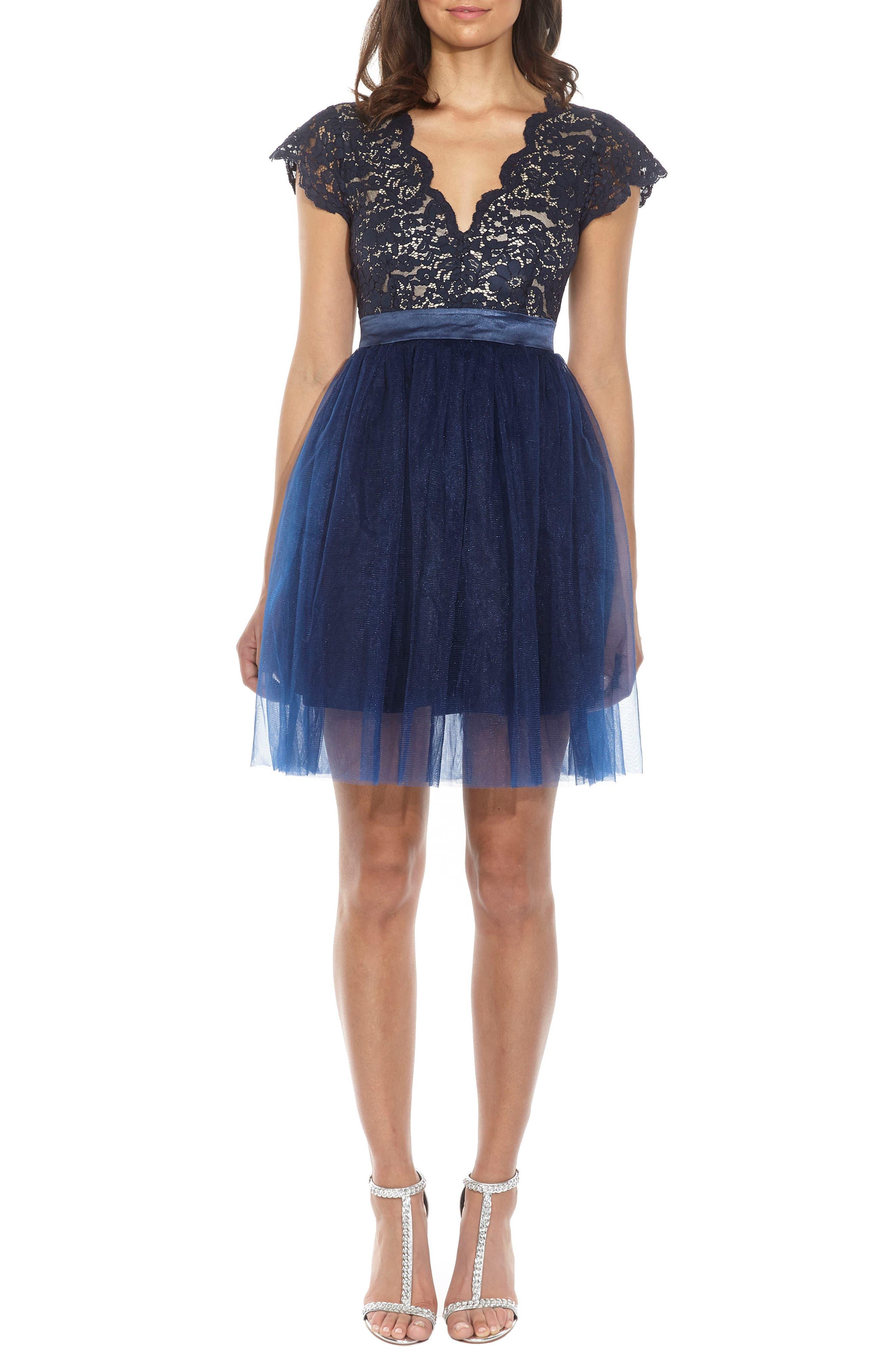 Macen Scalloped Lace Skater Dress,                             Alternate thumbnail 2, color,                             Navy