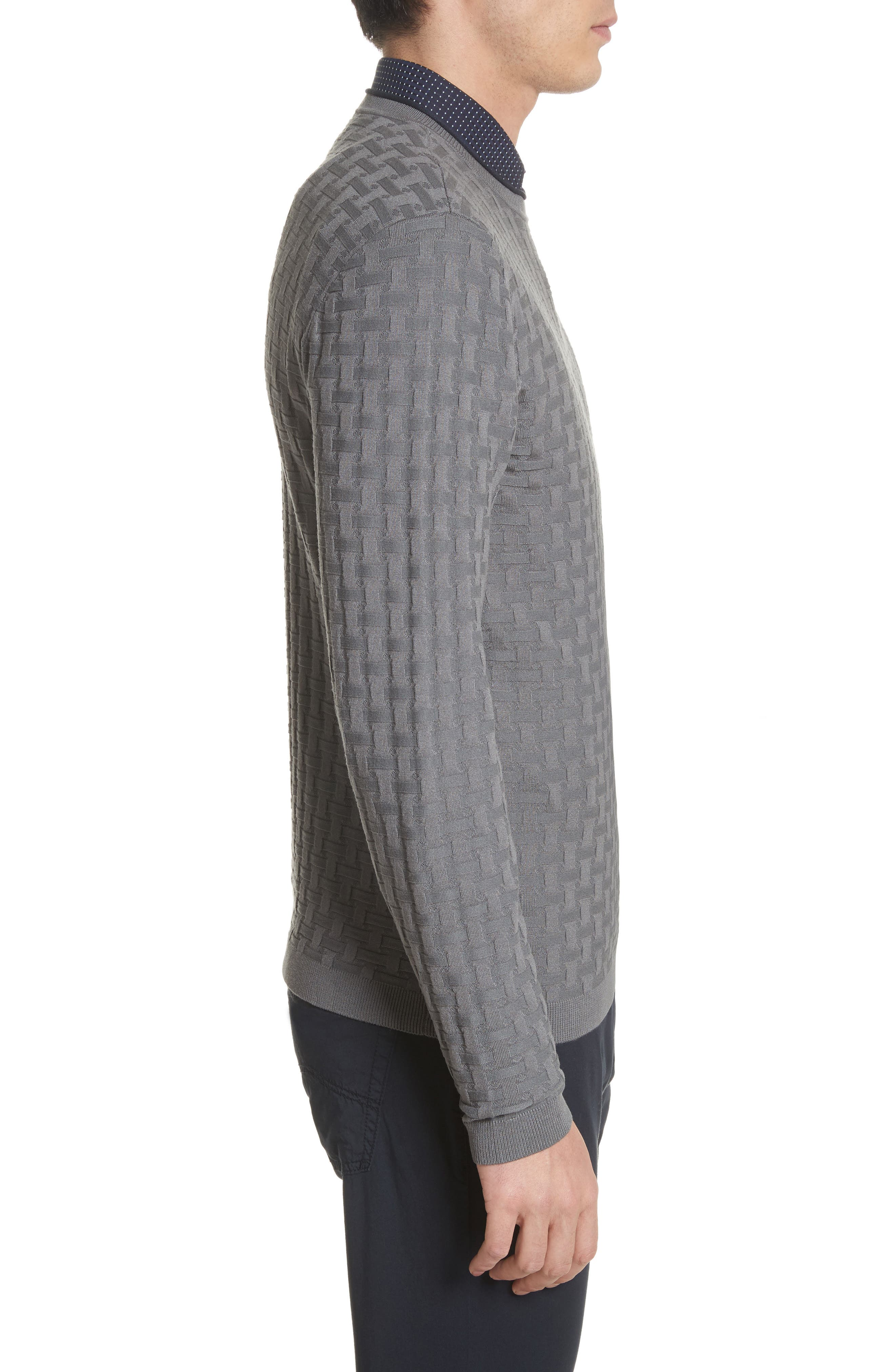 Slim Fit Woven Links Sweater,                             Alternate thumbnail 3, color,                             Pietra