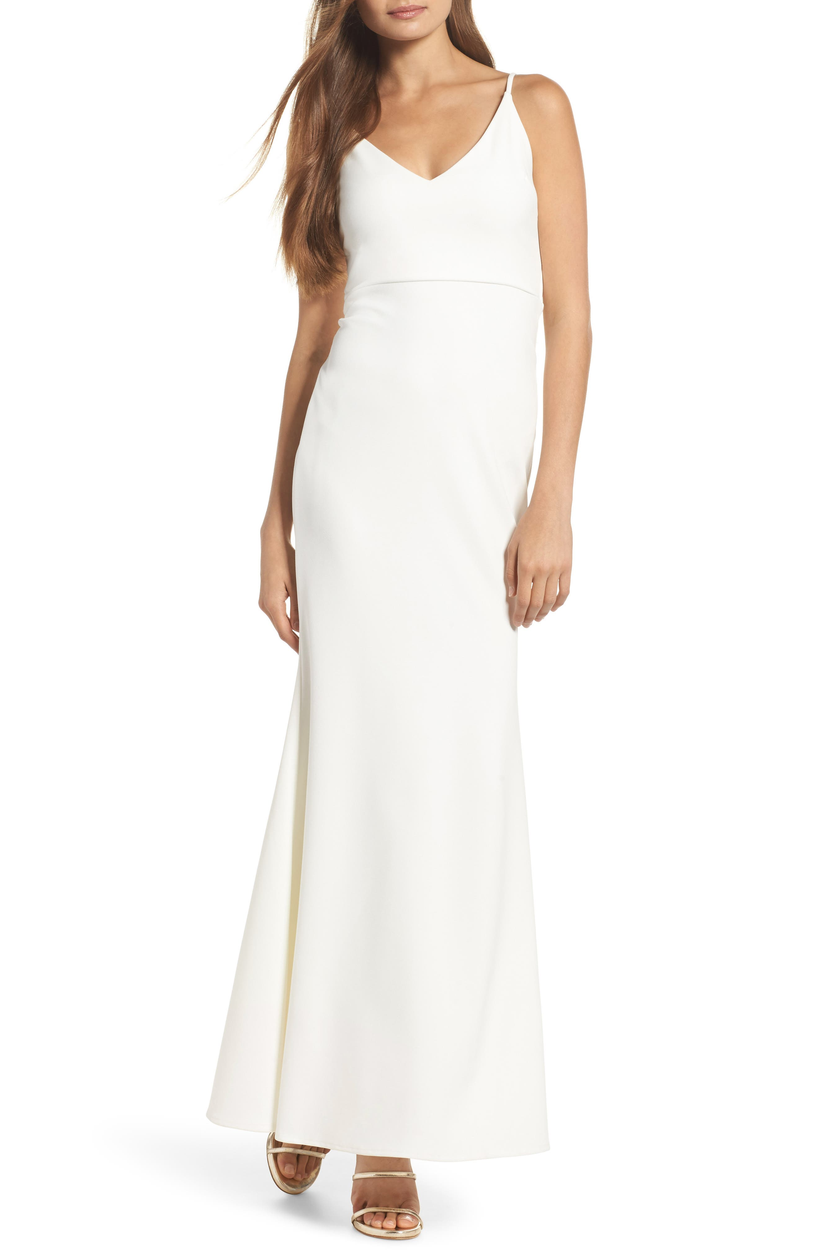 V-Neck Trumpet Gown, Main, color, White