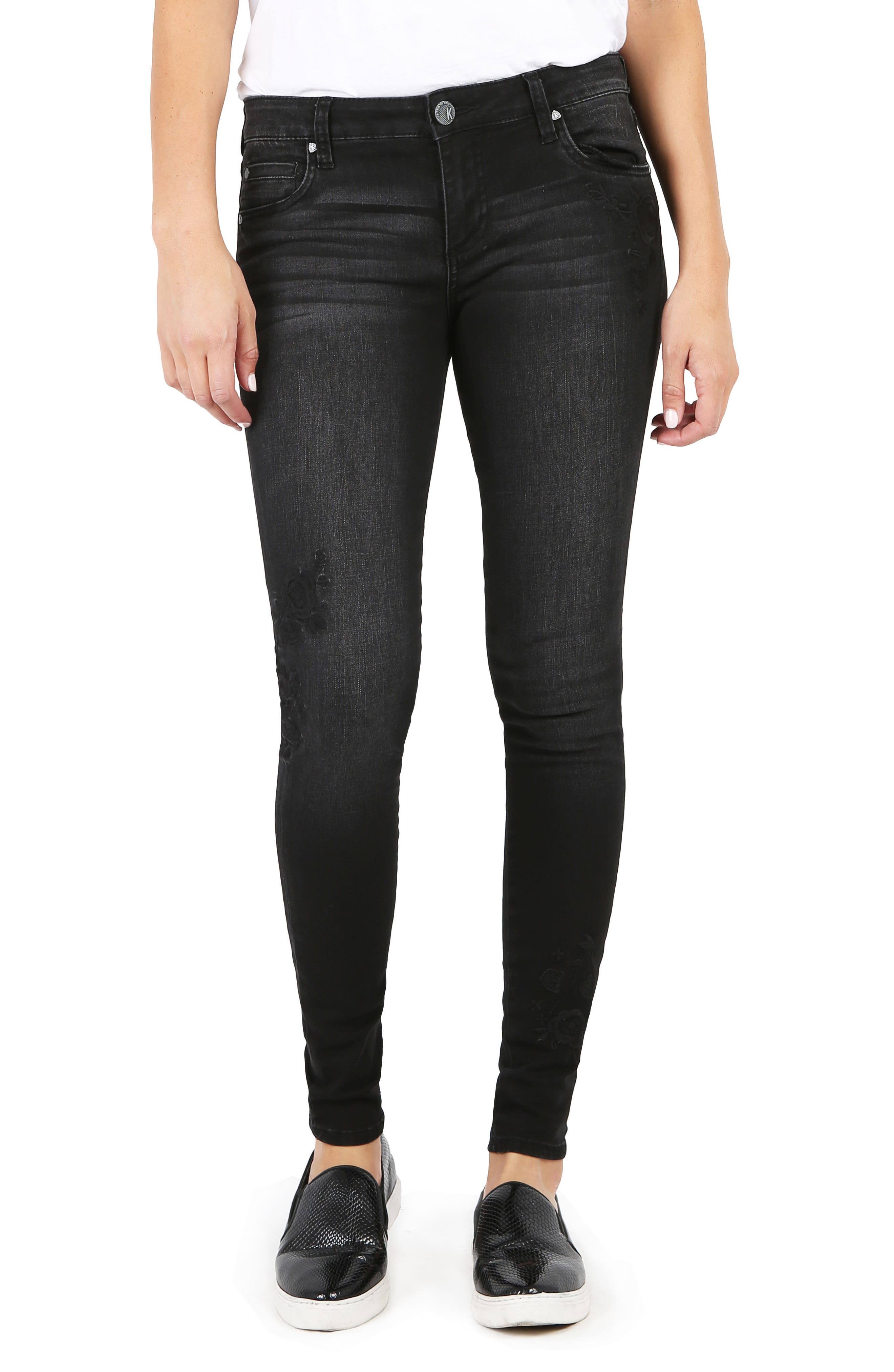 Mia Embroidered Skinny Jeans,                         Main,                         color, Versed W/ Black Base