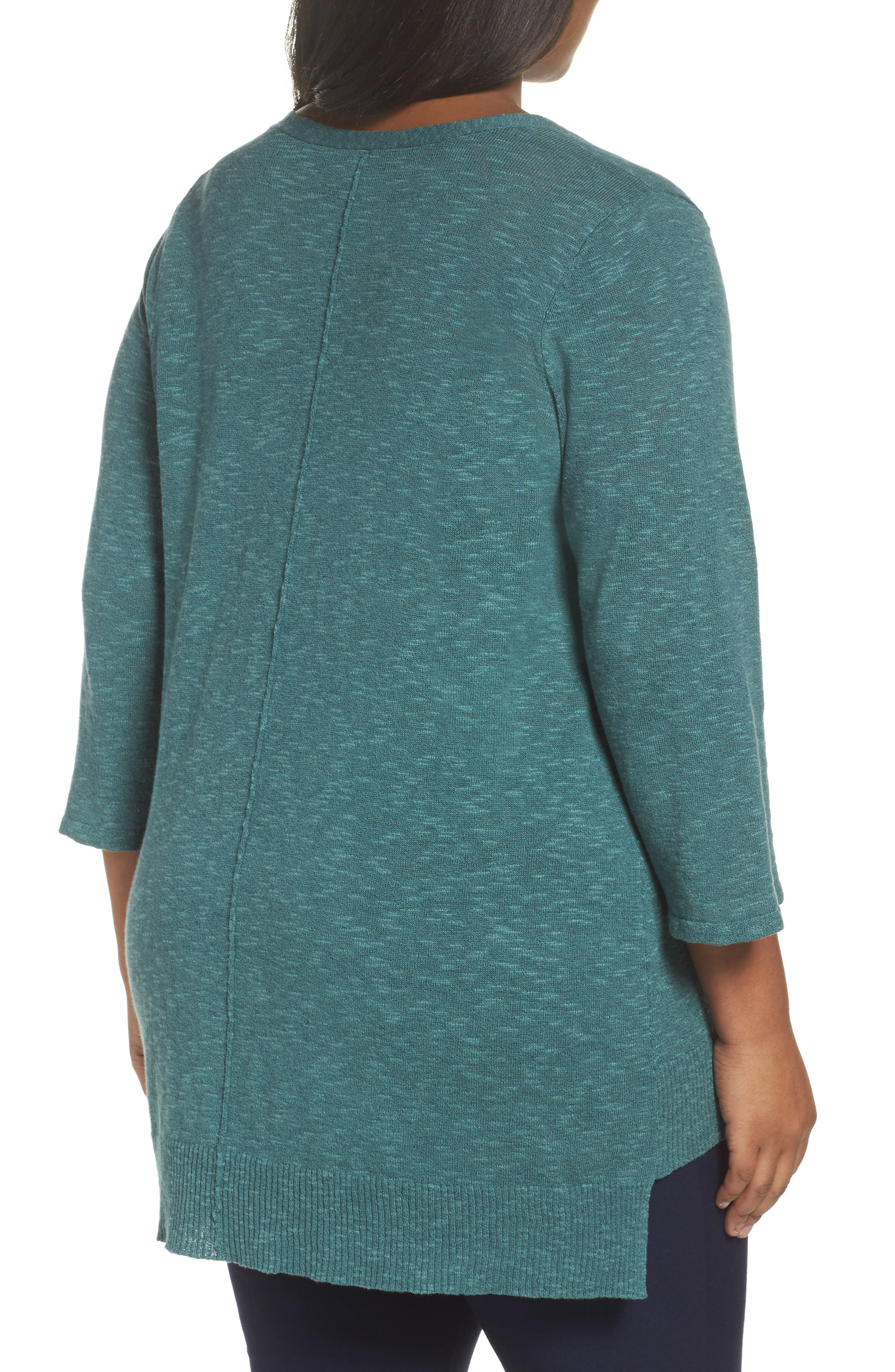 Alternate Image 2  - Eileen Fisher Organic Linen & Cotton High/Low Sweater (Plus Size)