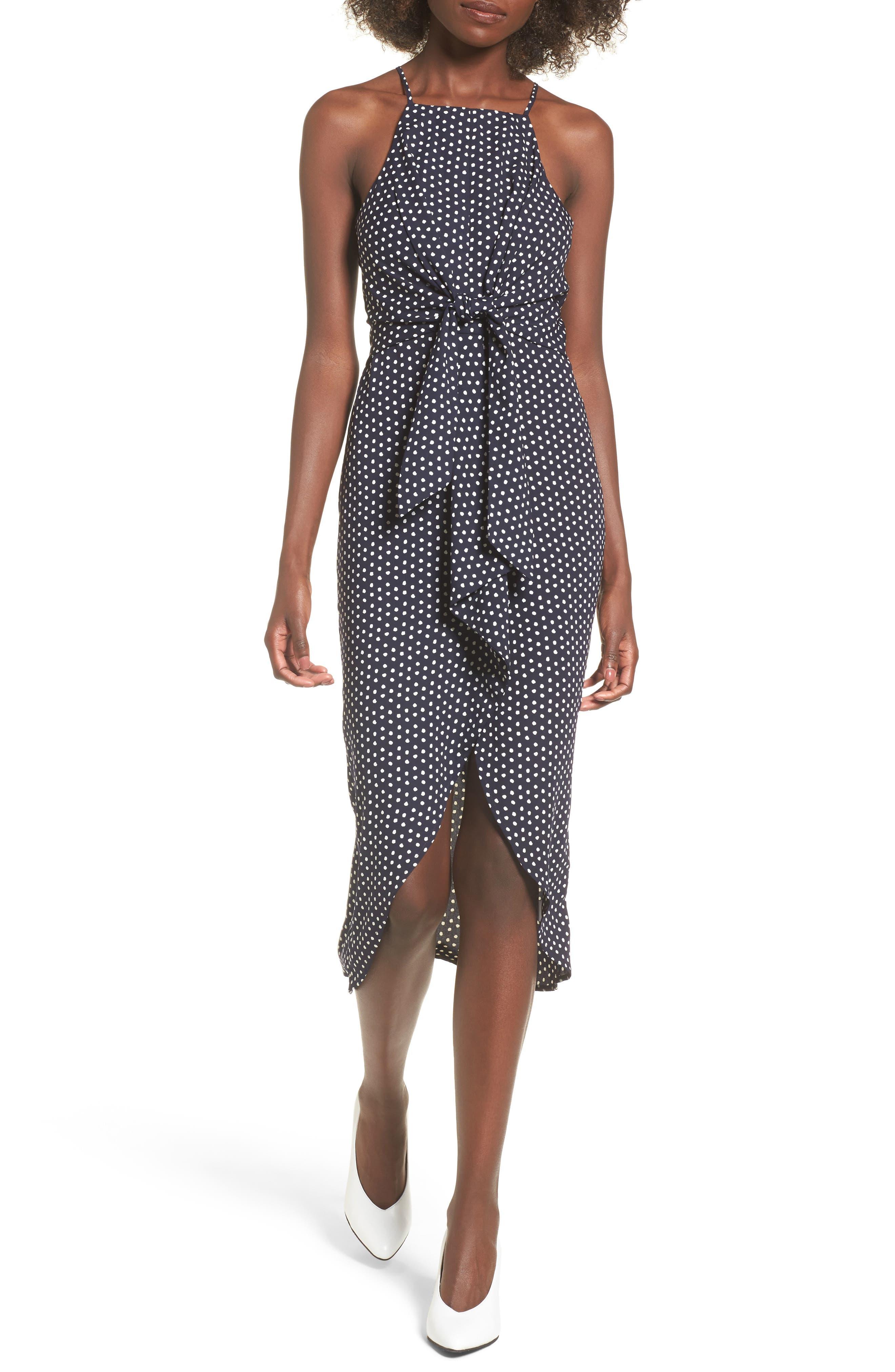 Polka Dot High Neck Midi Dress,                         Main,                         color, Navy Polk A Dot