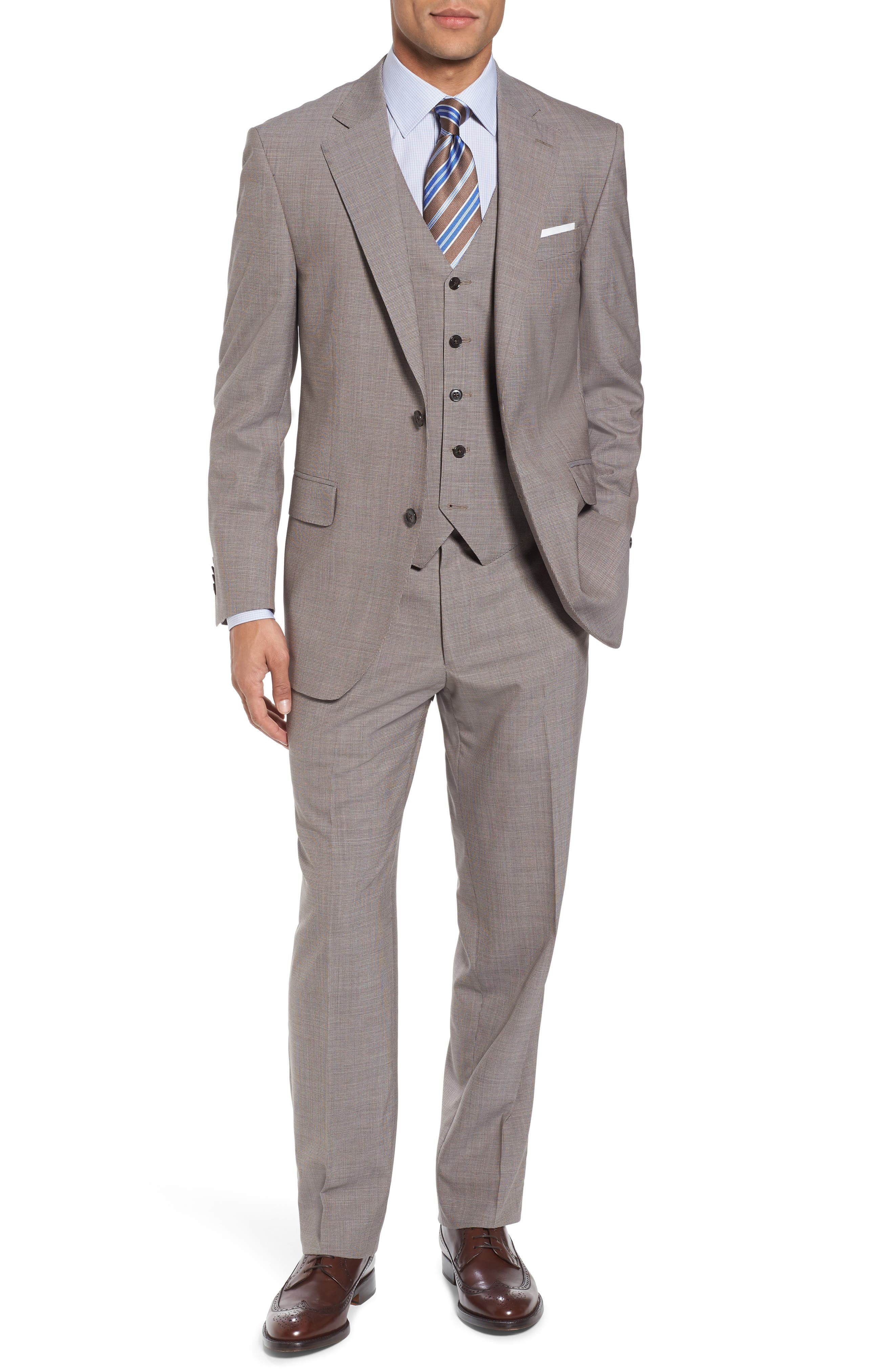 Peter Millar Classic Fit Houndstooth Three Piece Wool Suit