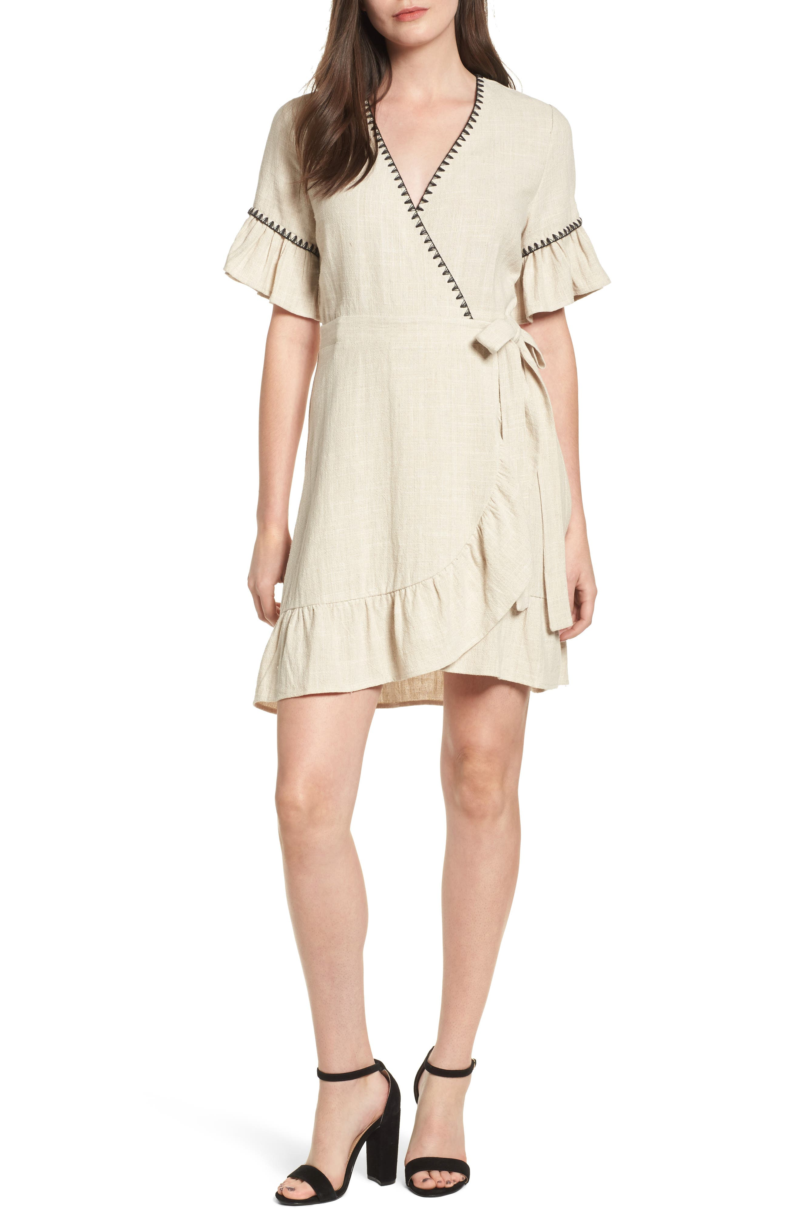 Alternate Image 1 Selected - MOON RIVER Blanket Stitch Wrap Dress