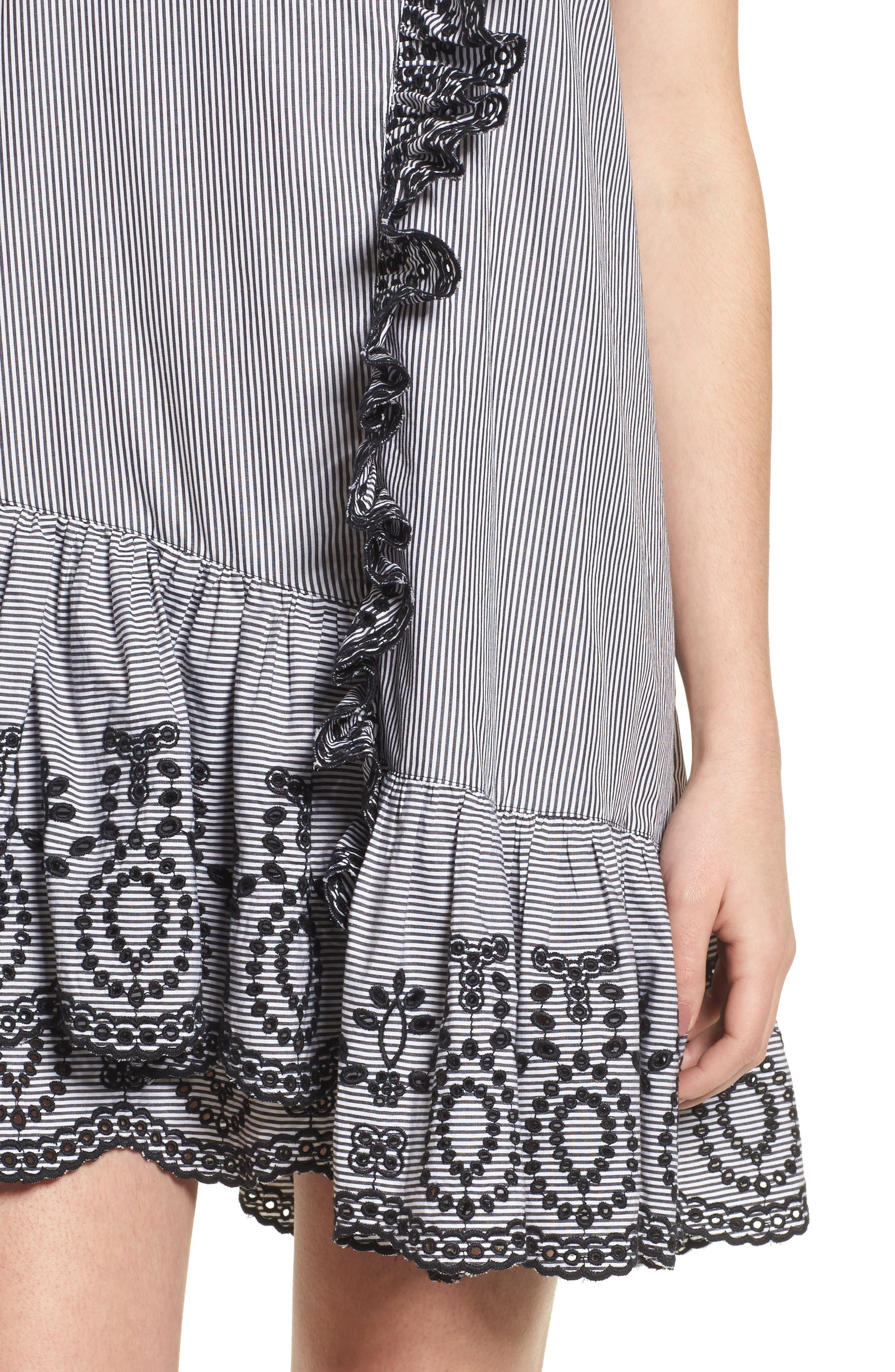 Lace Trim Drop Waist Dress,                             Alternate thumbnail 4, color,                             Black Jenny Stripe