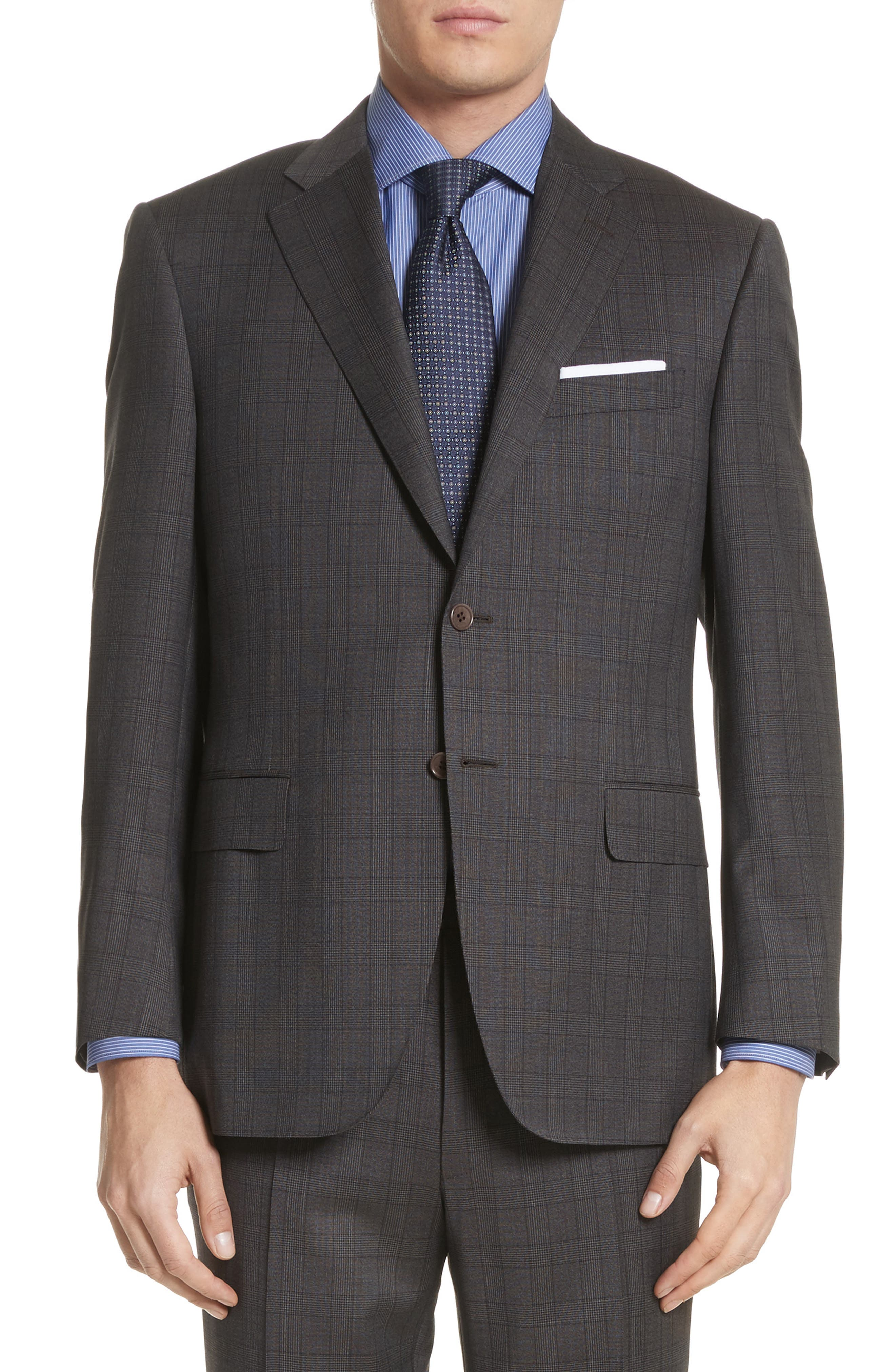 Classic Fit Plaid Wool Suit,                             Alternate thumbnail 5, color,                             Brown