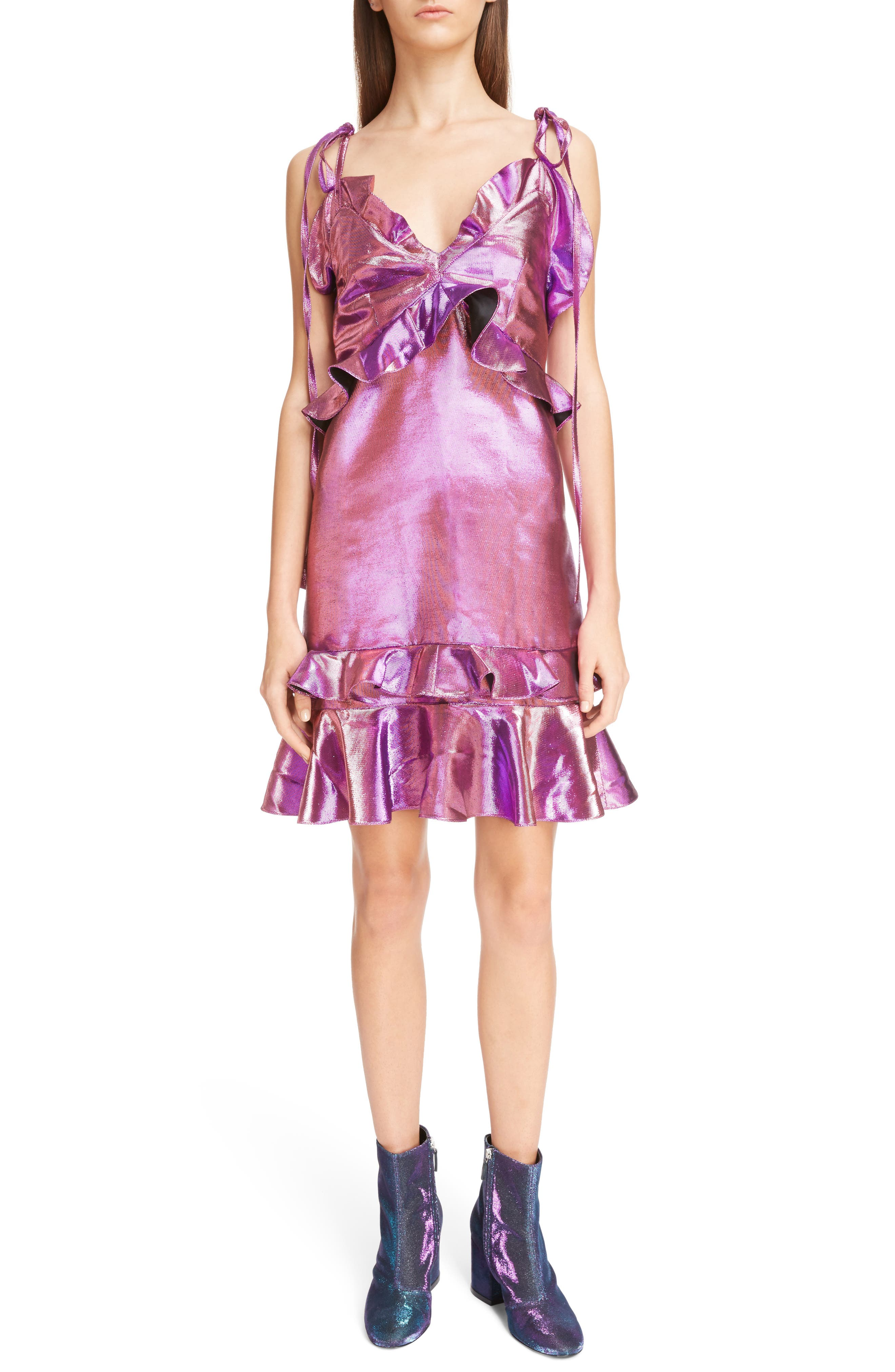 Metallic Ruffle Dress,                         Main,                         color, Bright Purple