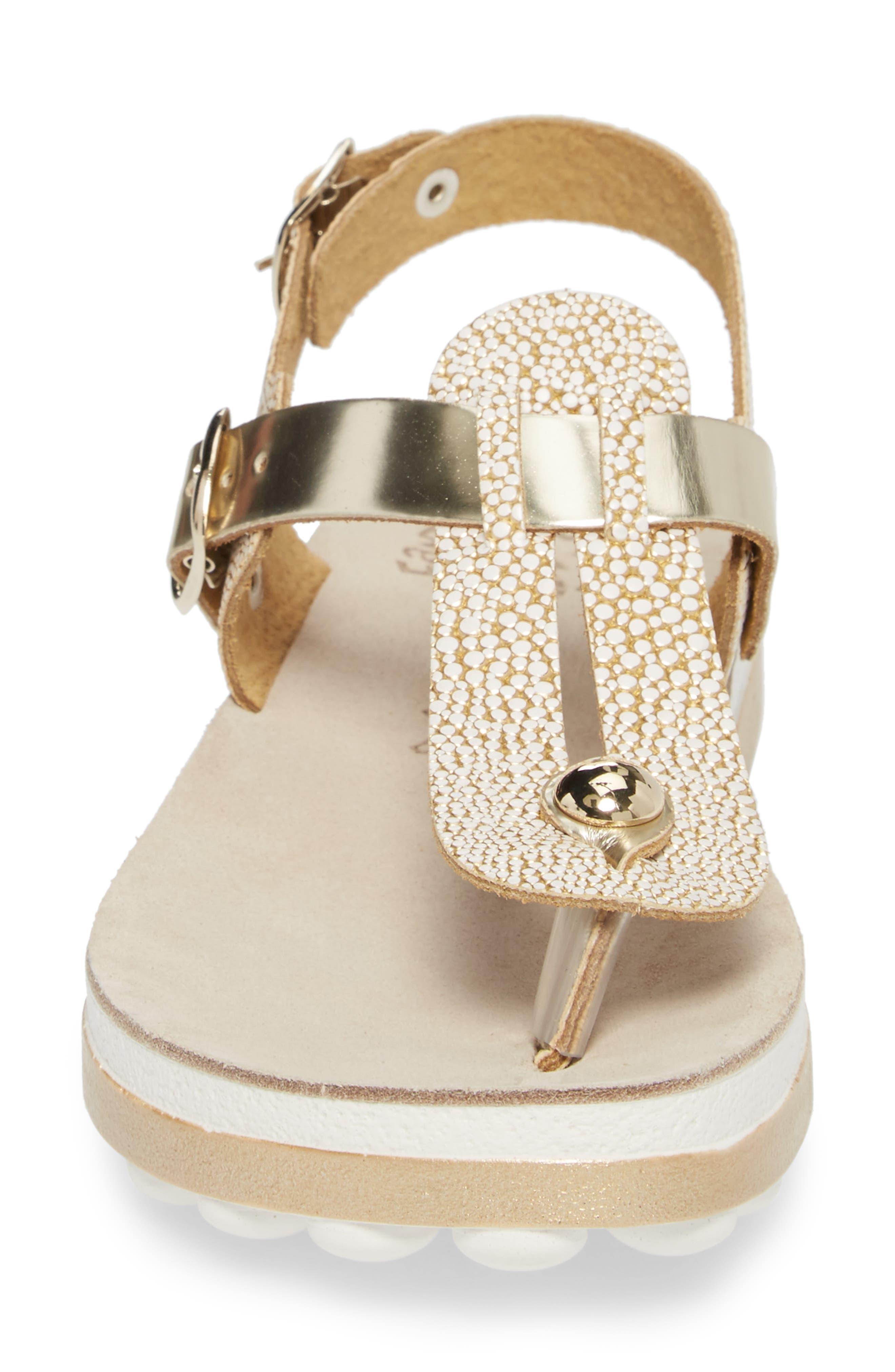 Marlena Fantasy Sandal,                             Alternate thumbnail 4, color,                             Gold Caviar Leather