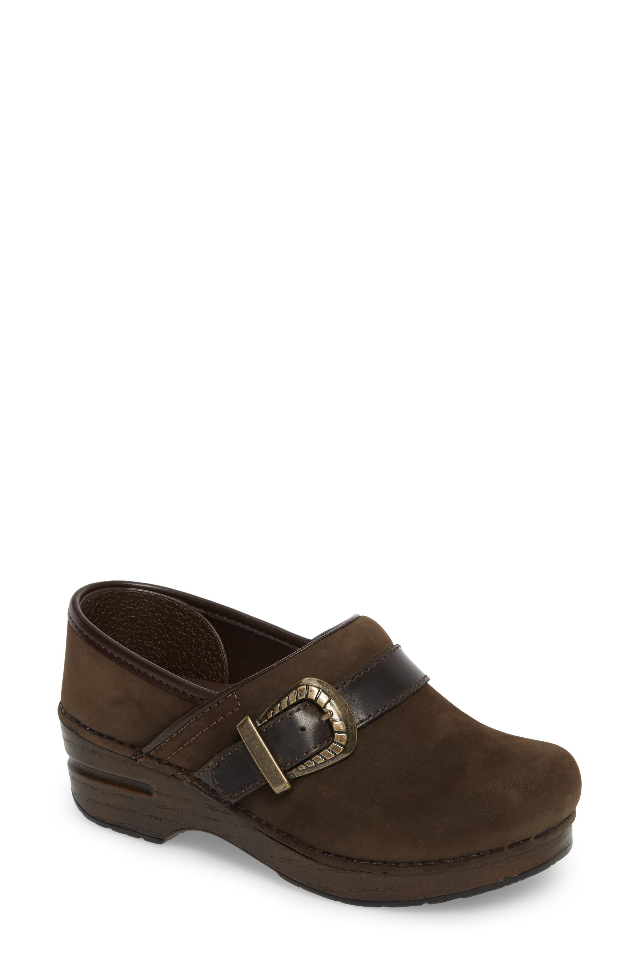 Pammy Clog,                             Main thumbnail 1, color,                             Brown Milled Nubuck Leather
