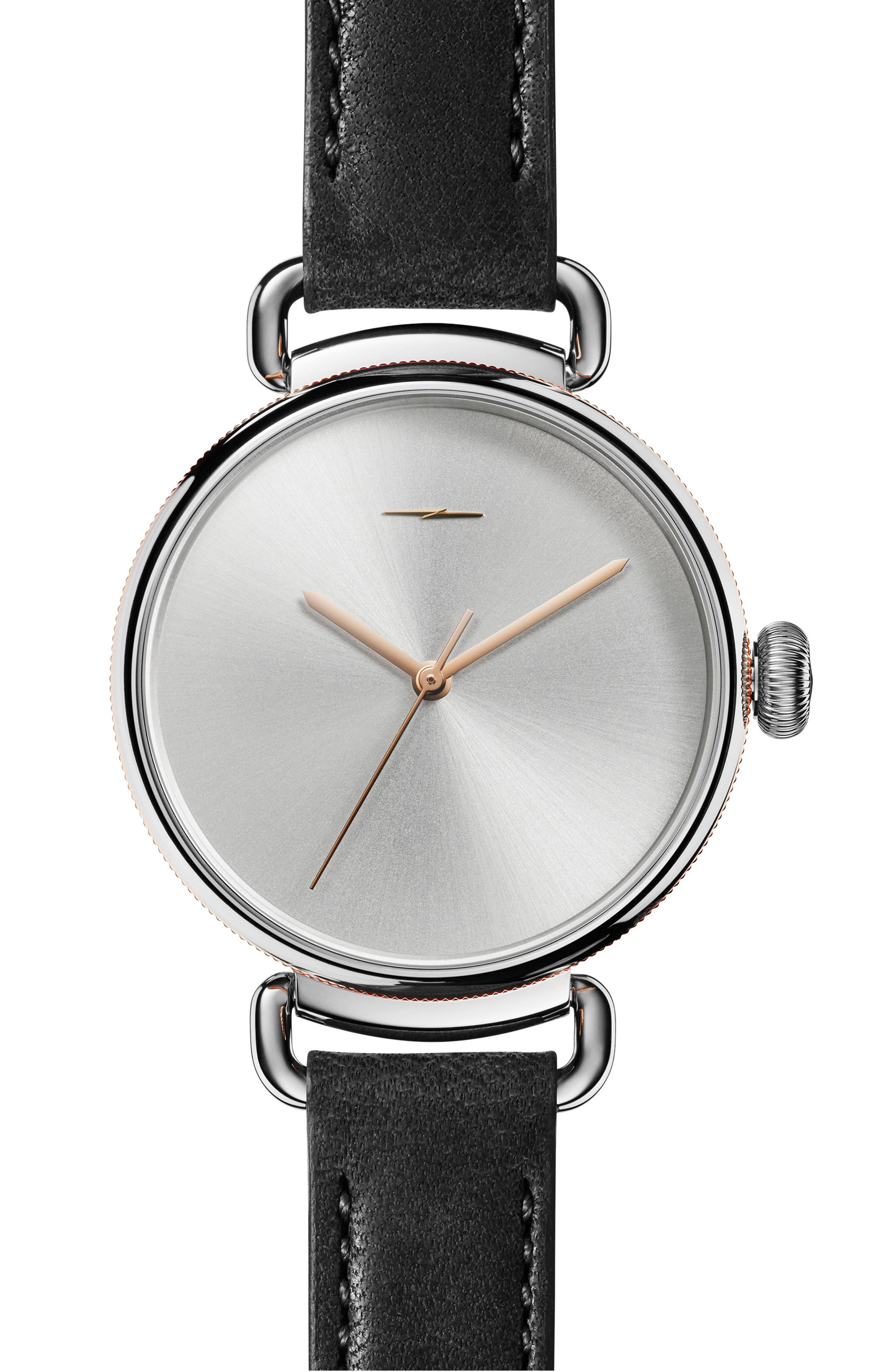Bolt Leather Strap Watch, 38mm,                         Main,                         color, Black/ Silver