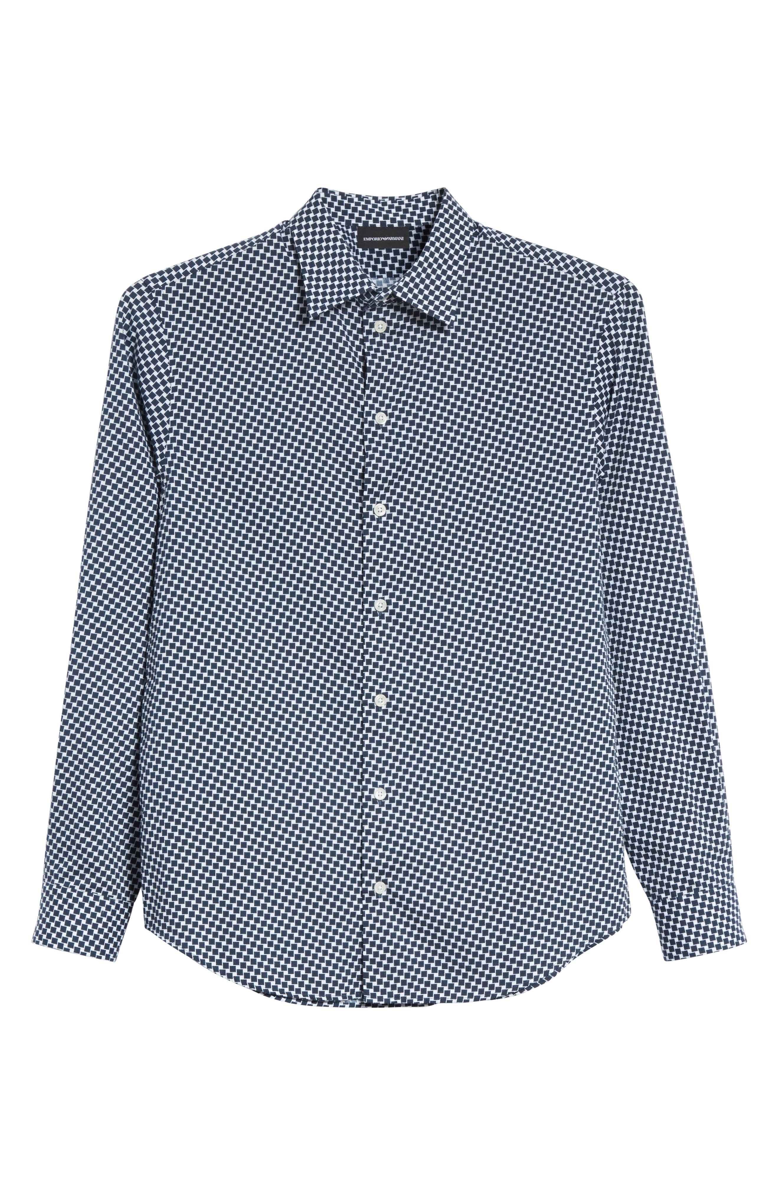 Rectangle Print Regular Fit Sport Shirt,                             Alternate thumbnail 6, color,                             Navy