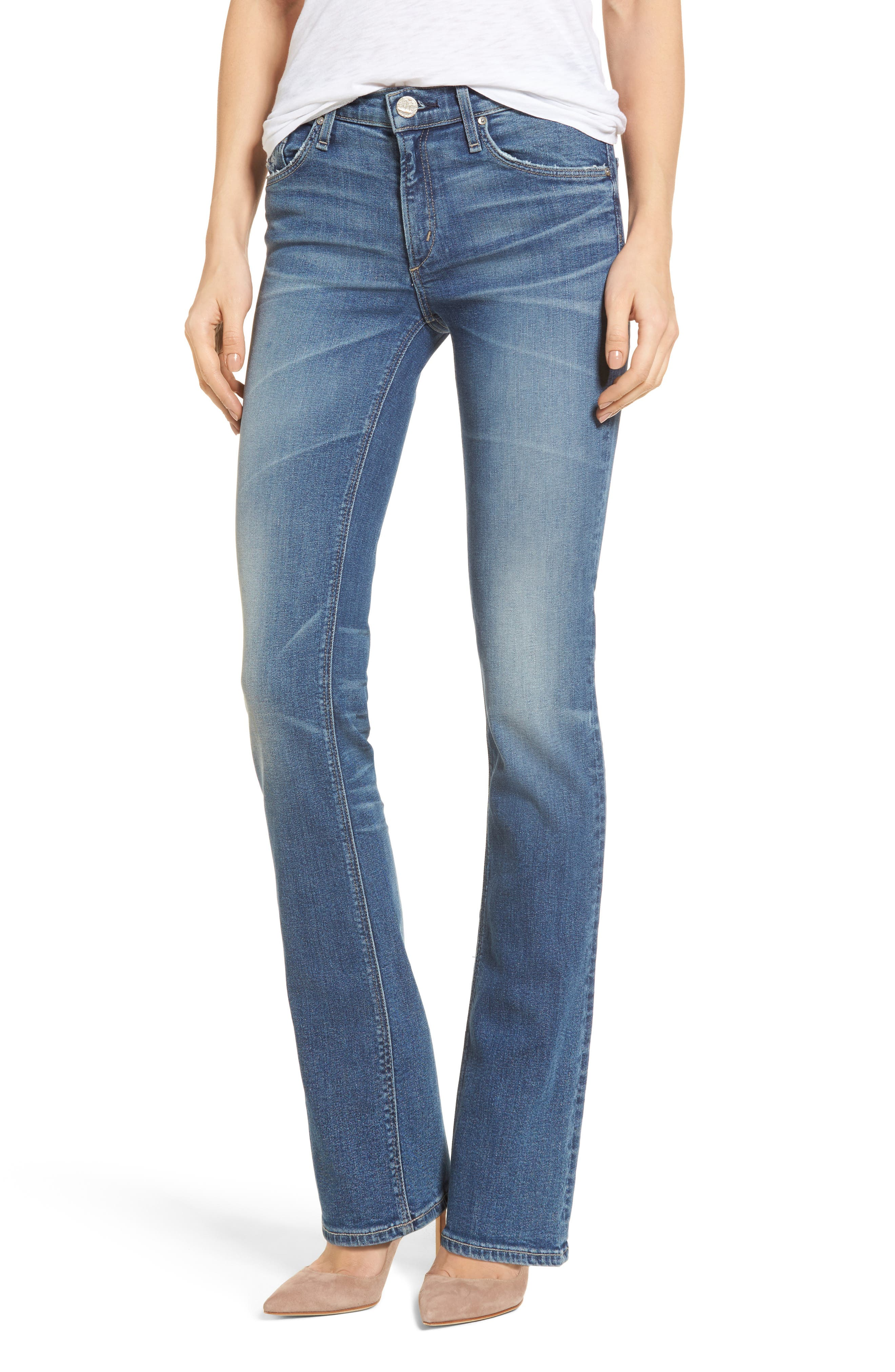 Gainsbourg High Waist Bootcut Jeans,                             Main thumbnail 1, color,                             Excuse Me Sir