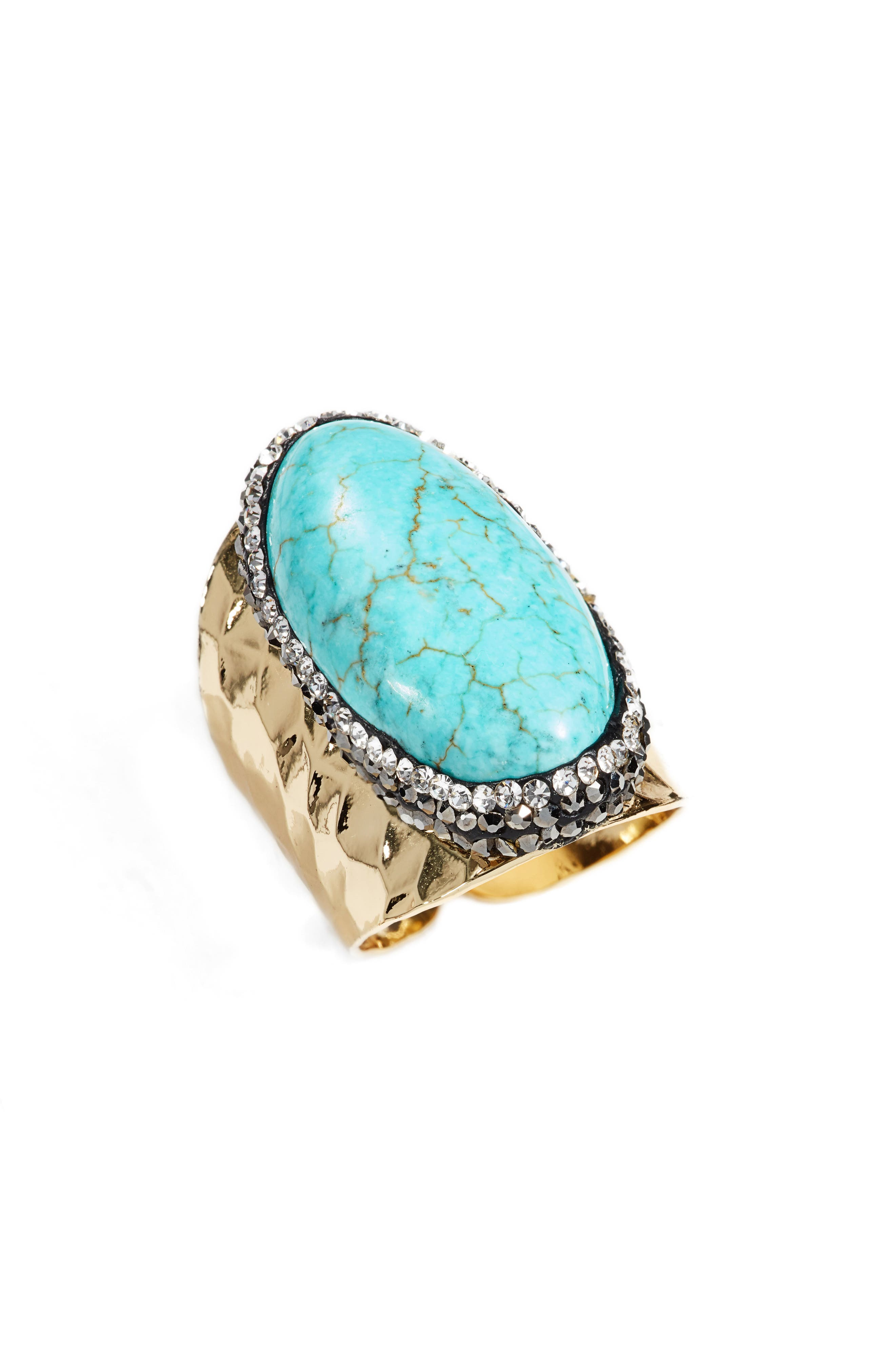 Queenie Turqoise Adjustable Ring,                             Main thumbnail 1, color,                             Opal/ Turquoise