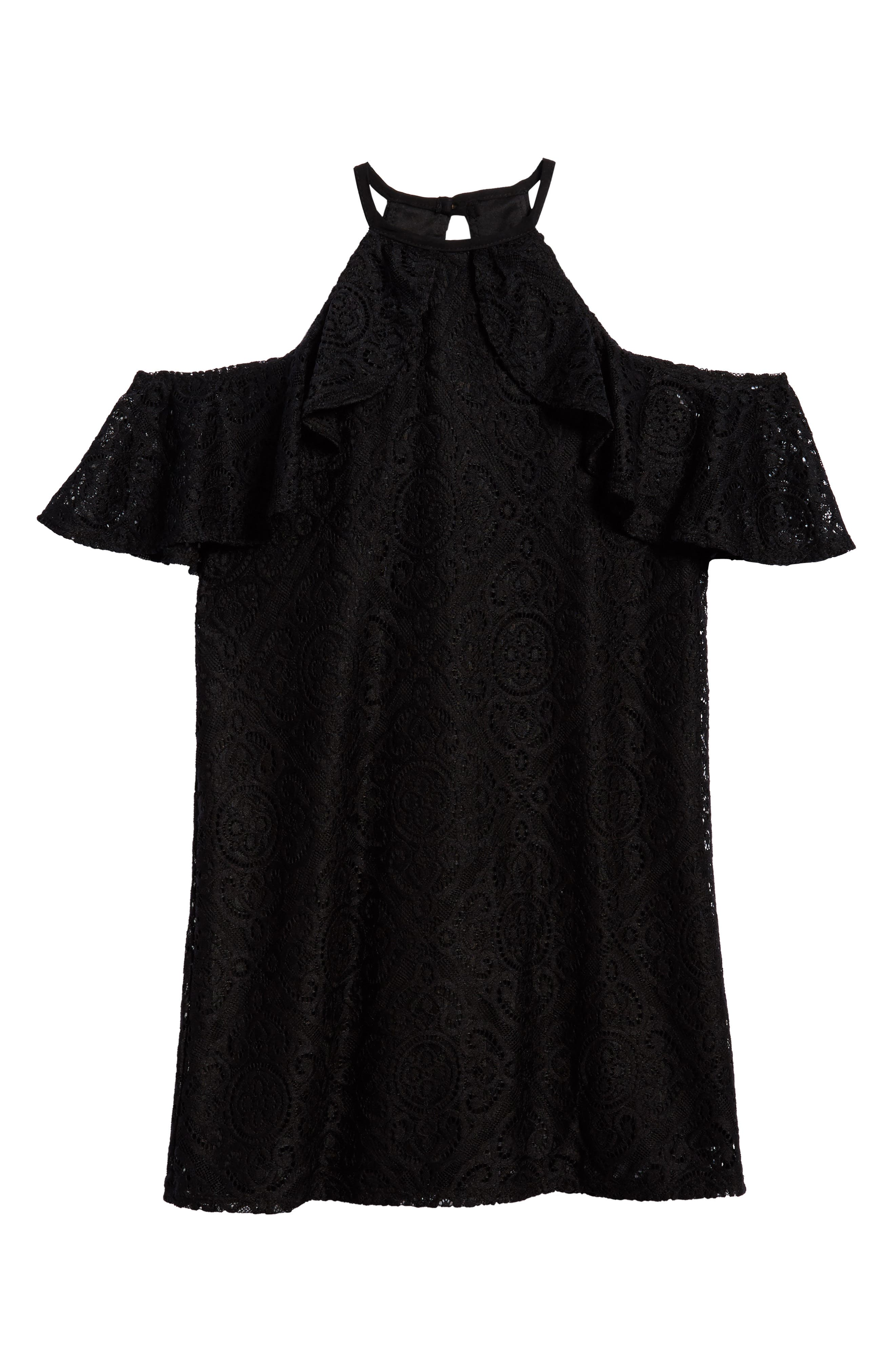 Lace Ruffle Cold Shoulder Dress,                             Main thumbnail 1, color,                             Black