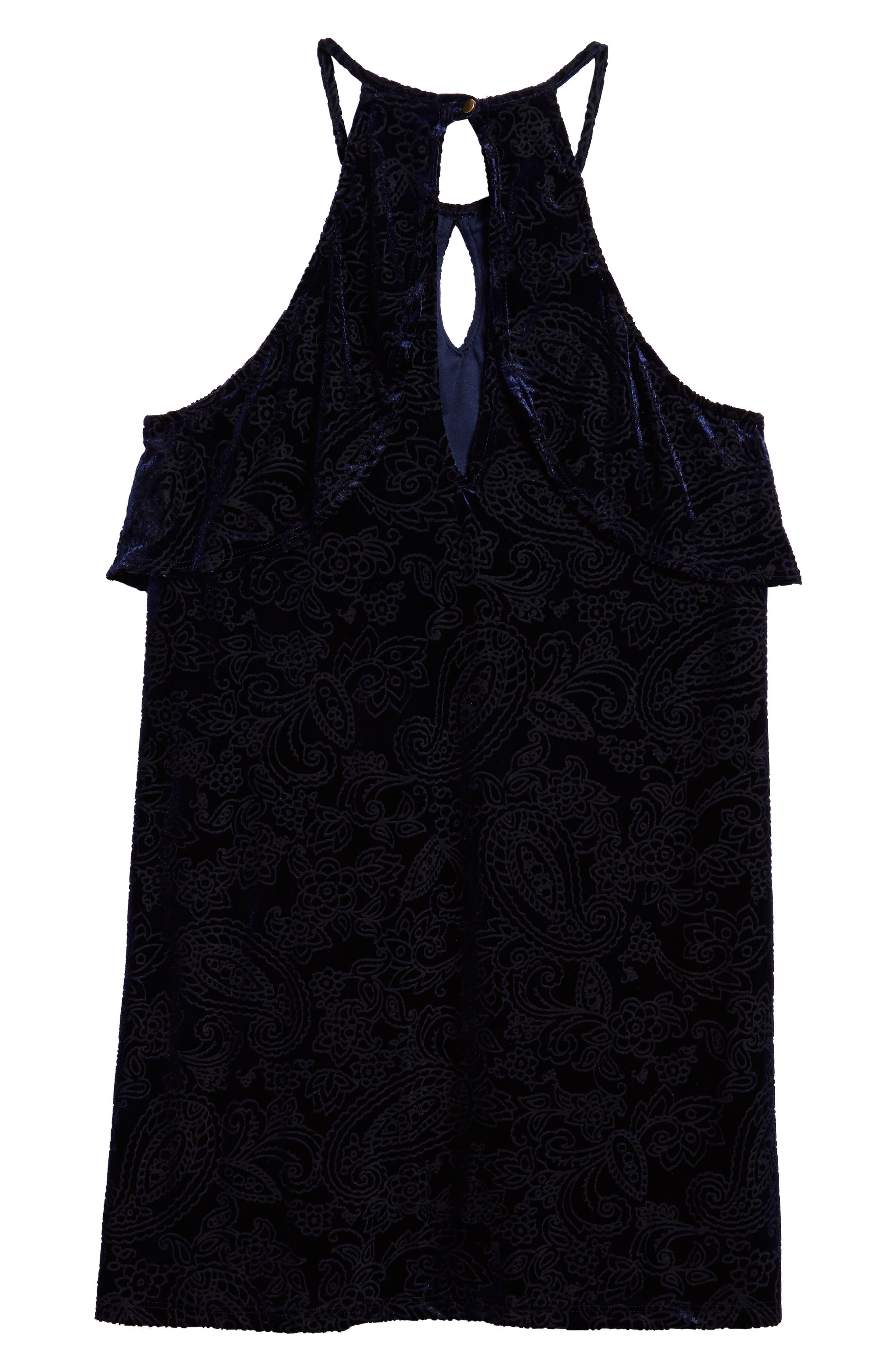 Burnout Velvet Dress,                             Alternate thumbnail 2, color,                             Navy
