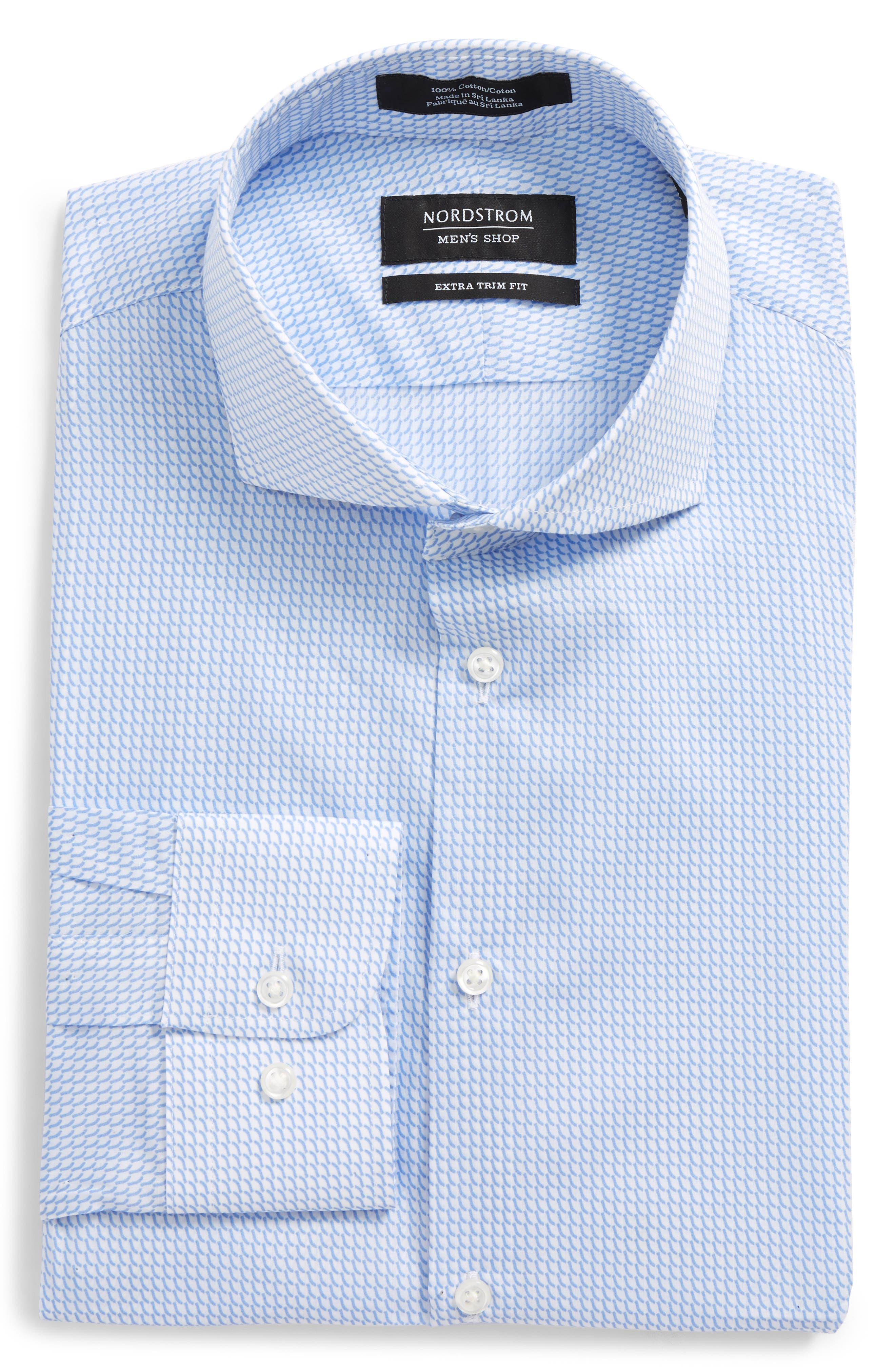 Extra Trim Fit Patterned Dress Shirt,                         Main,                         color, Blue Hydrangea