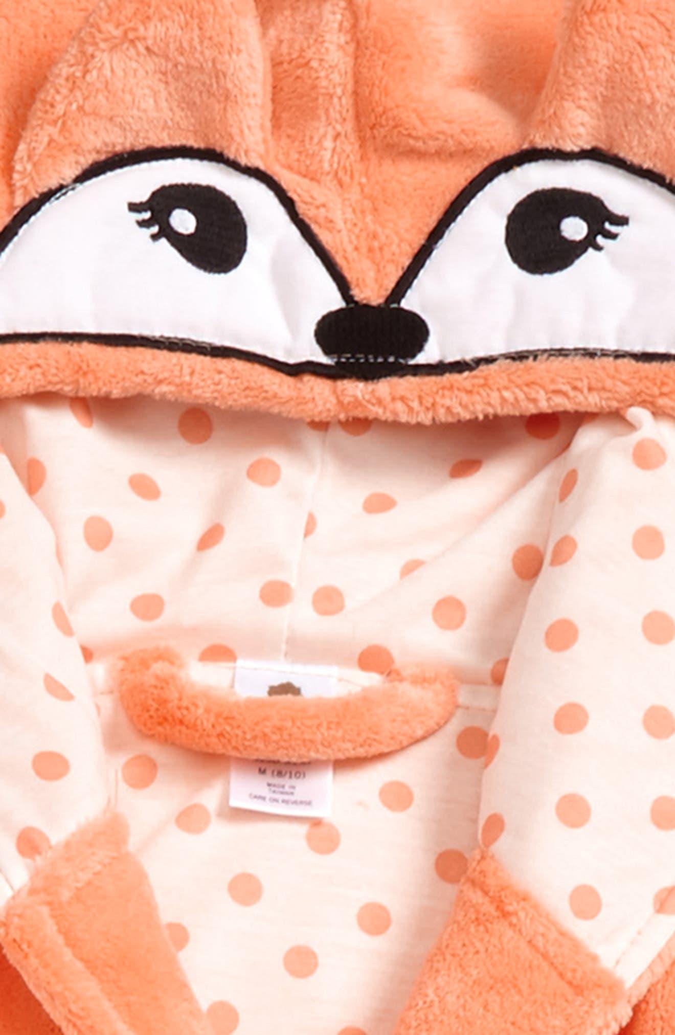 Fox Plush Robe,                             Alternate thumbnail 2, color,                             Coral Starfish Fox