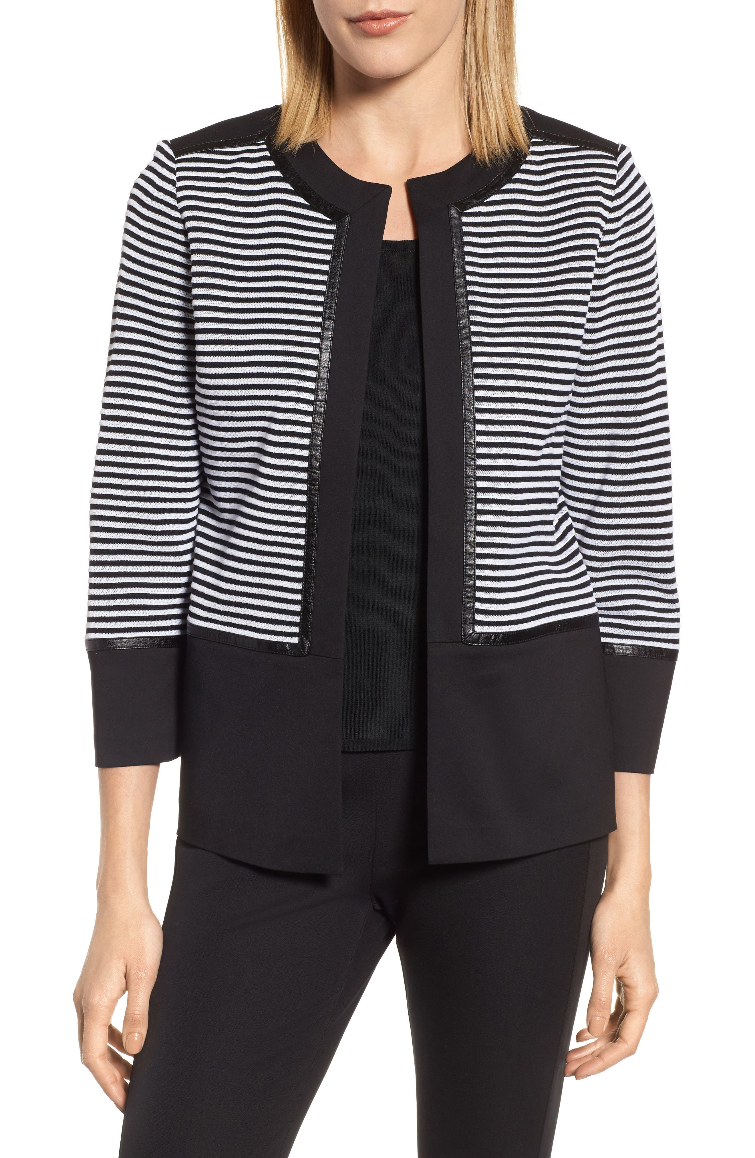 Alternate Image 1 Selected - Ming Wang Faux Leather Trim Stripe Knit Jacket