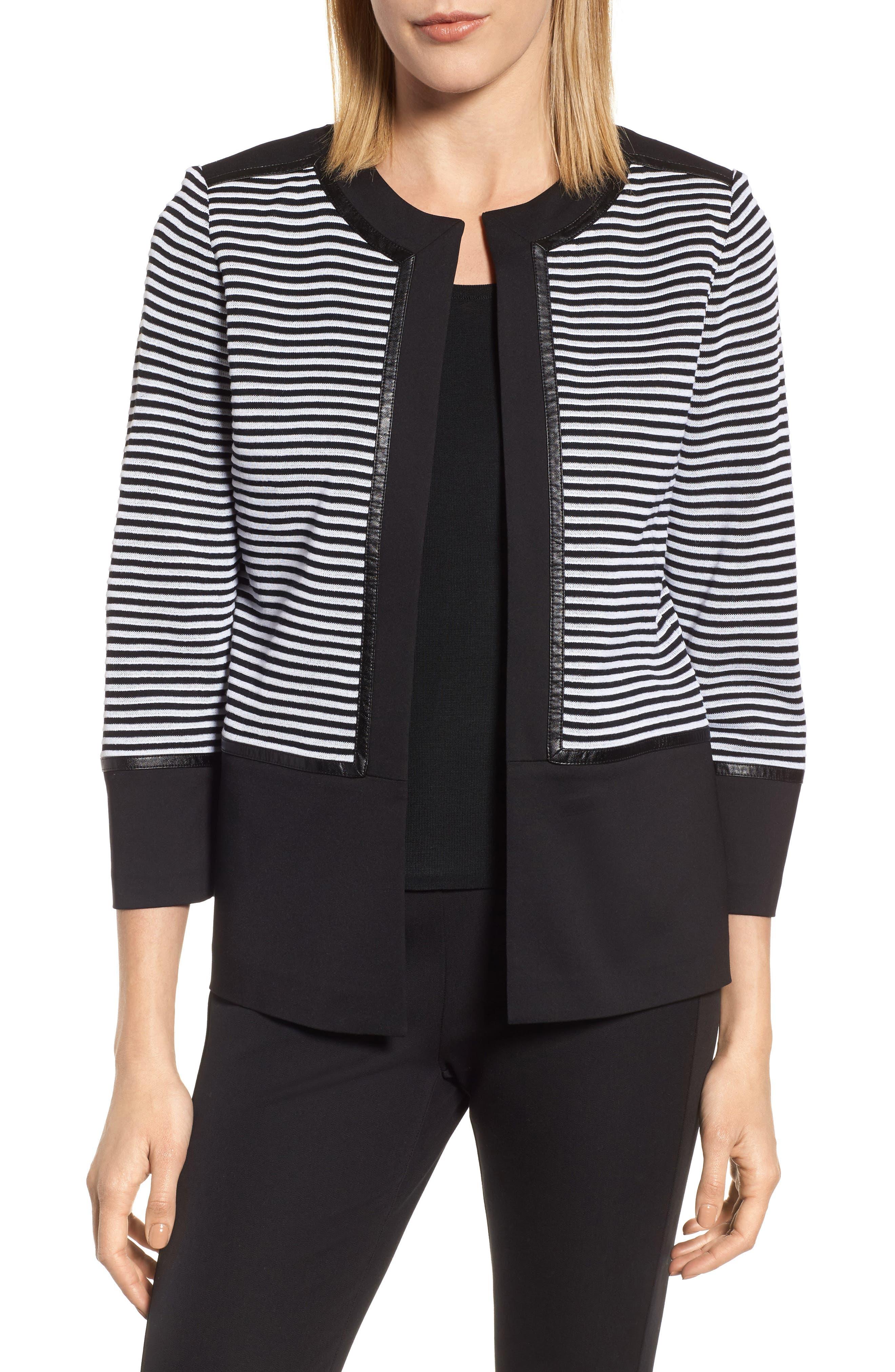 Faux Leather Trim Stripe Knit Jacket,                         Main,                         color, Black/ White
