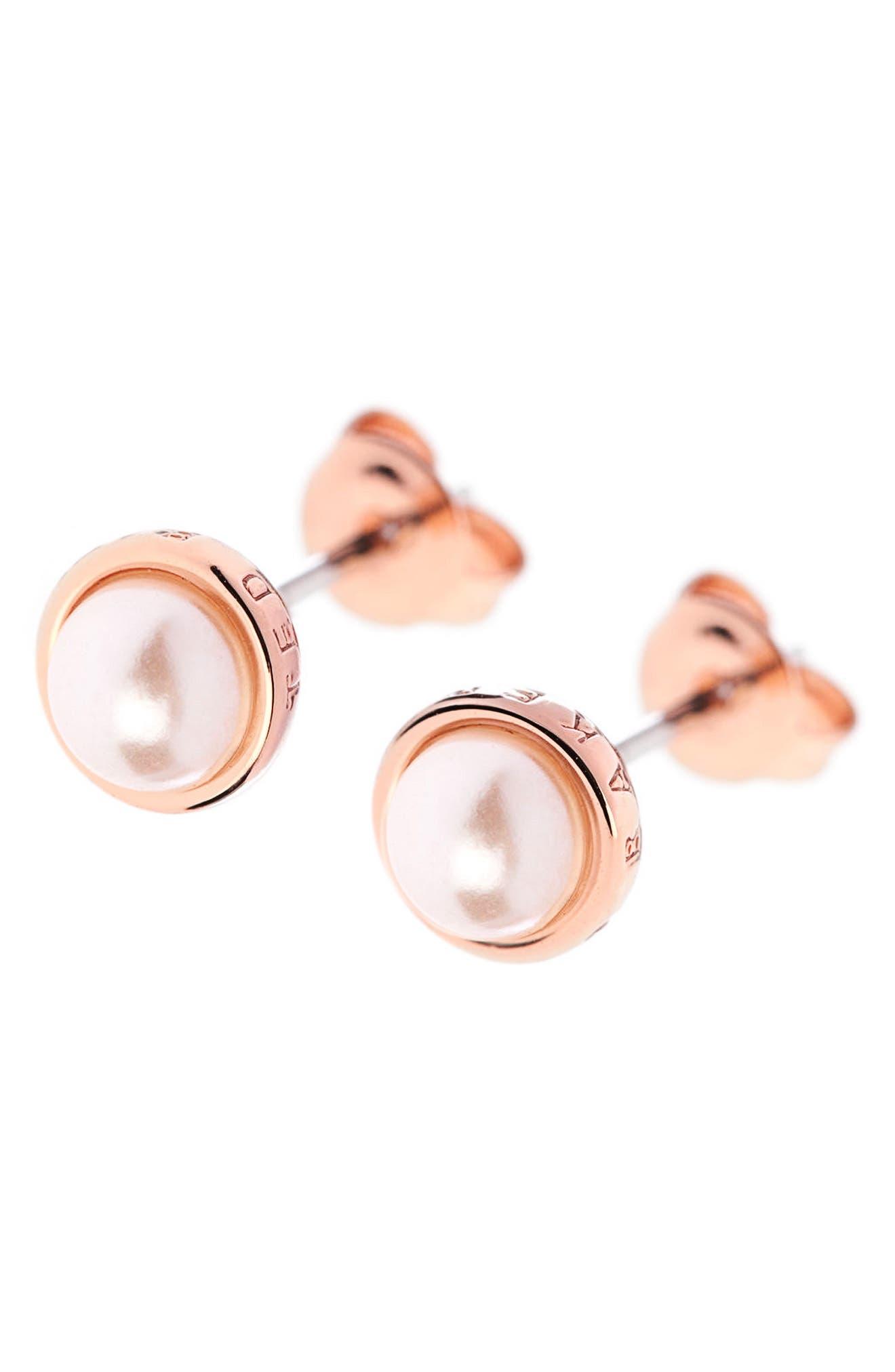 Stud Earrings,                             Alternate thumbnail 3, color,                             White
