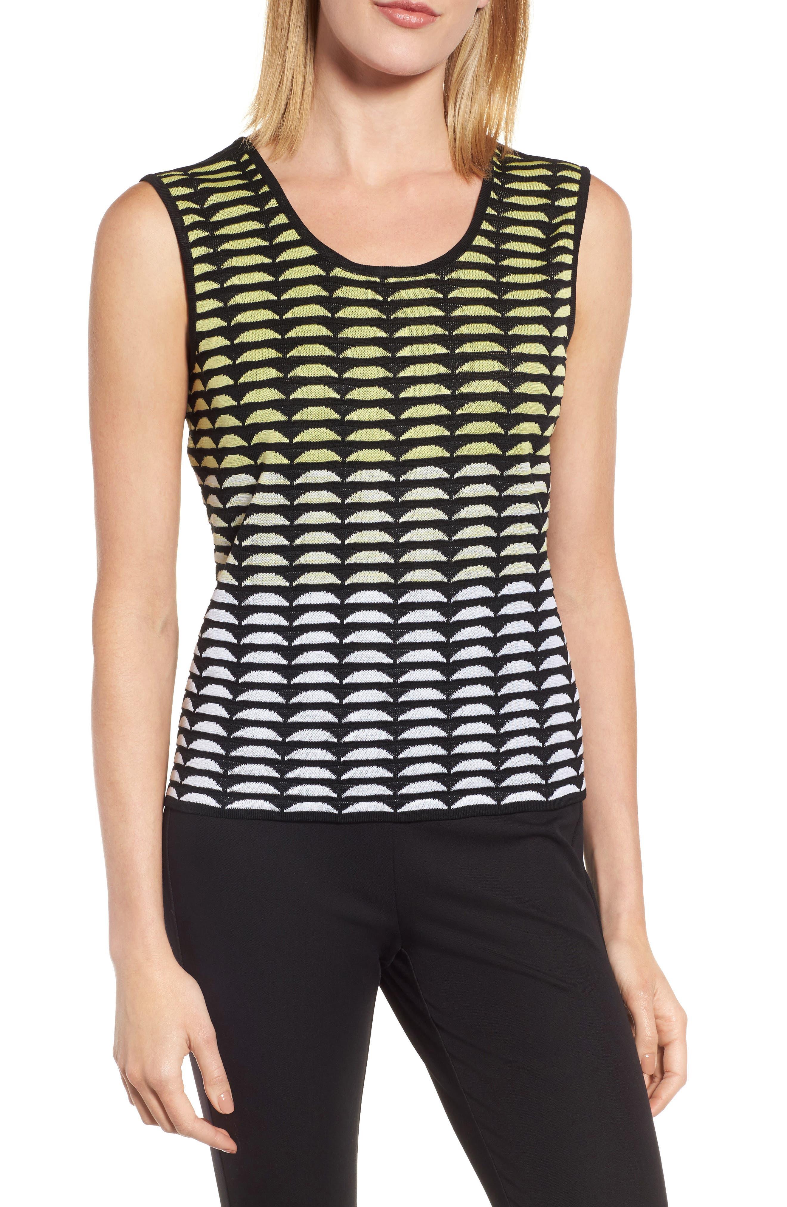 Reversible Scoop Neck Knit Tank,                             Main thumbnail 1, color,                             Aurora/ Black/ White